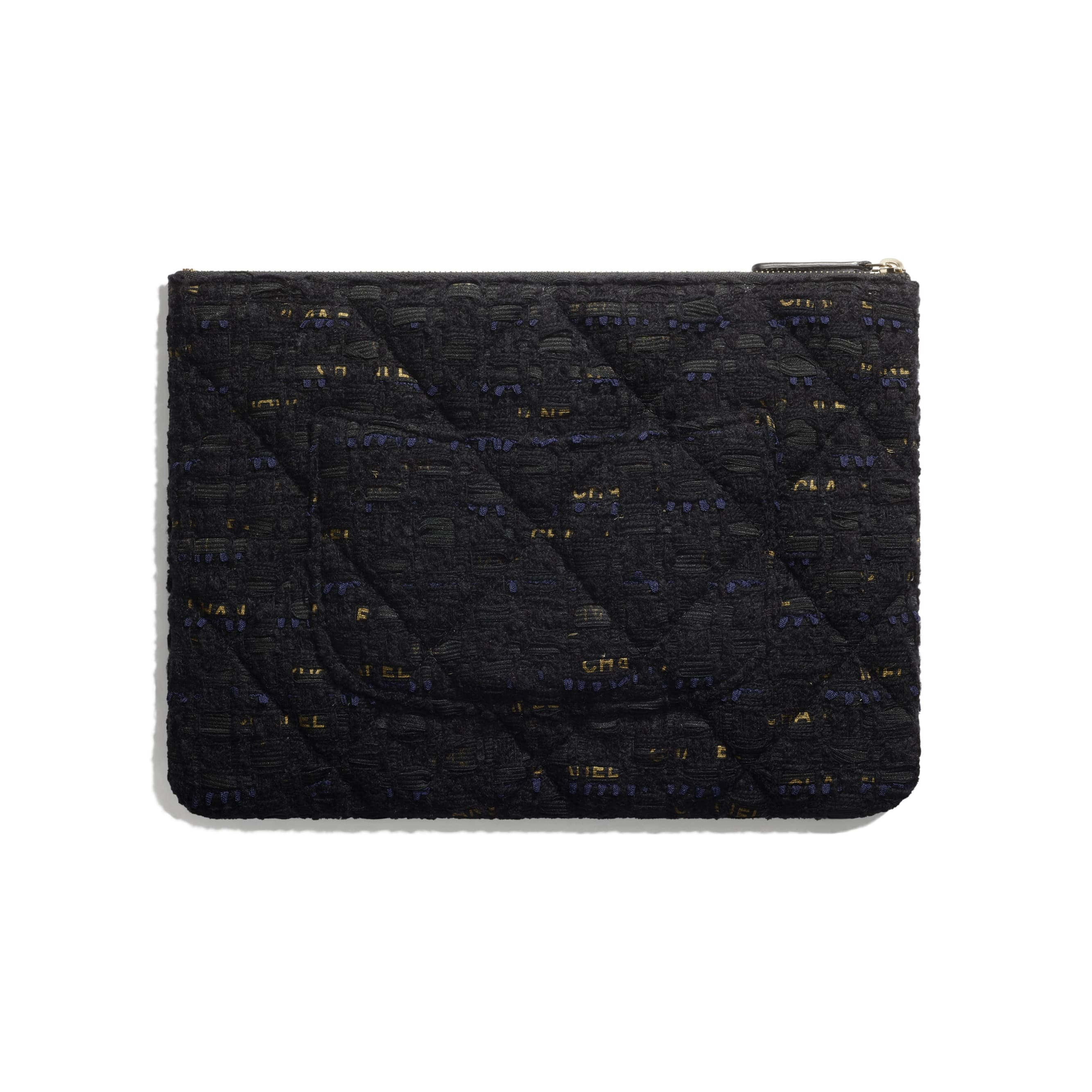 CHANEL 19 Pouch - Black, Navy Blue & Gold - Tweed & Gold Metal - CHANEL - Alternative view - see standard sized version