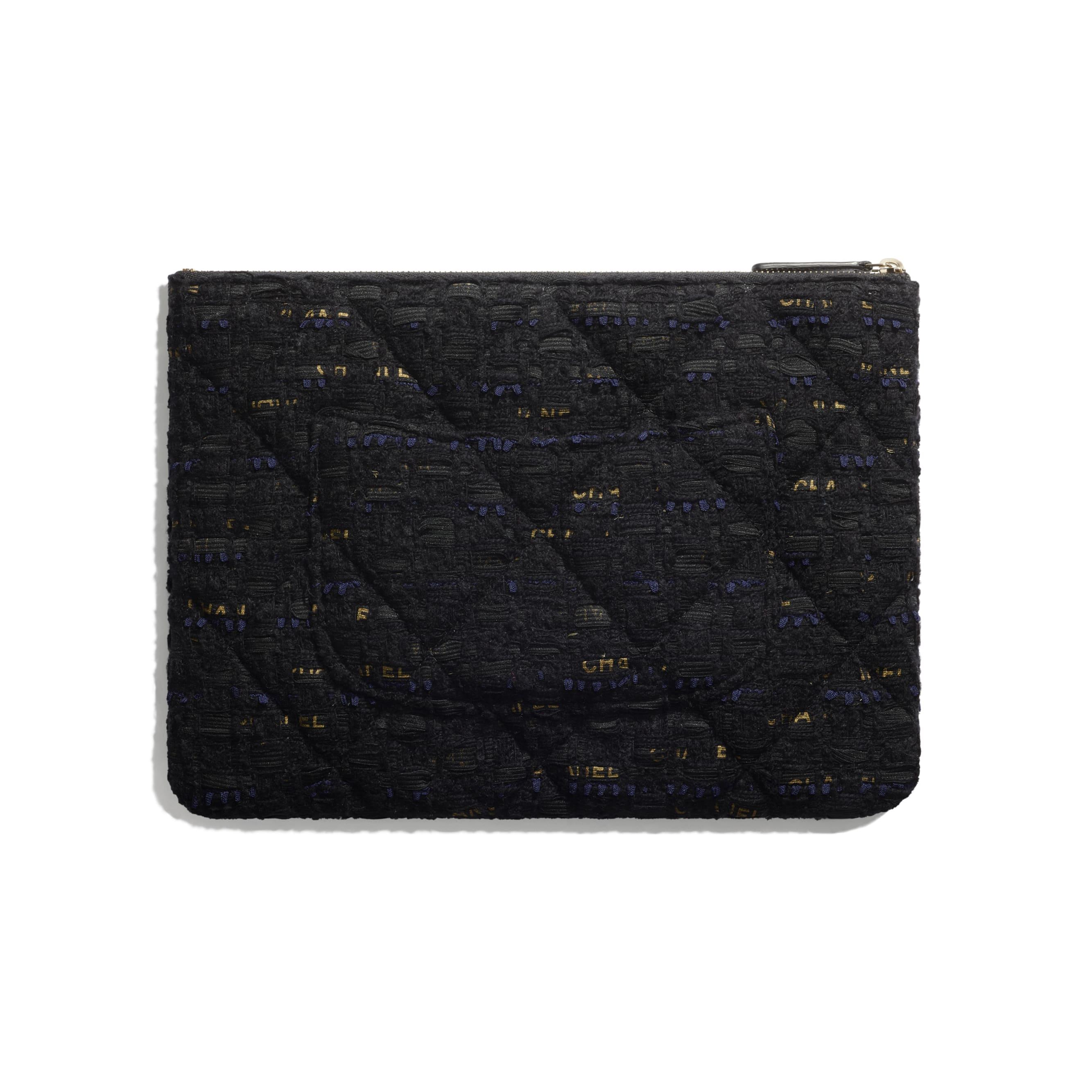 กระเป๋าเพาช์ CHANEL 19 - สีดำ สีน้ำเงินเนวี่บลู และสีทอง - ผ้าทวีตและโลหะสีทอง - CHANEL - มุมมองทางอื่น - ดูเวอร์ชันขนาดมาตรฐาน
