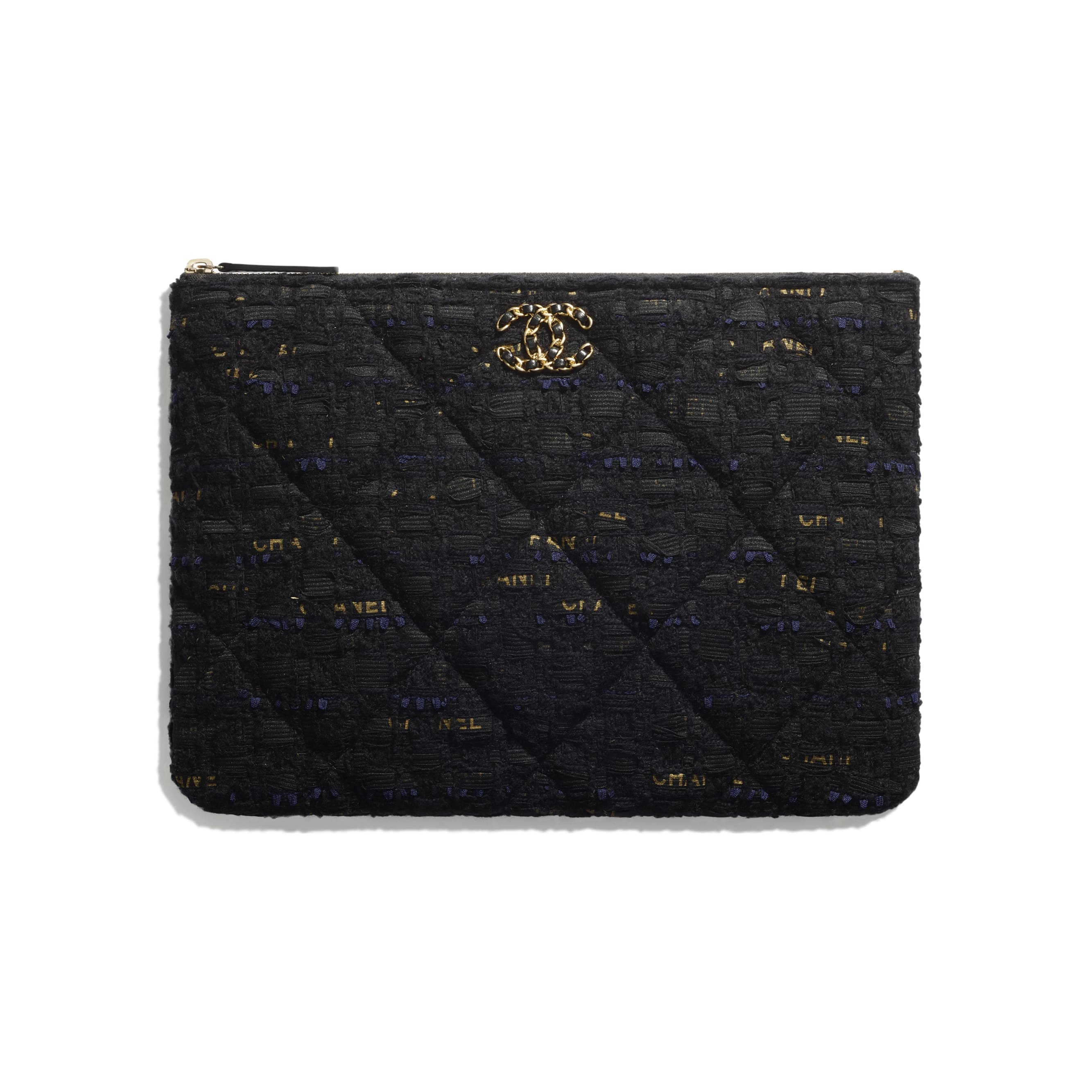 CHANEL 19 Pouch - Black, Navy Blue & Gold - Tweed & Gold Metal - CHANEL - Default view - see standard sized version