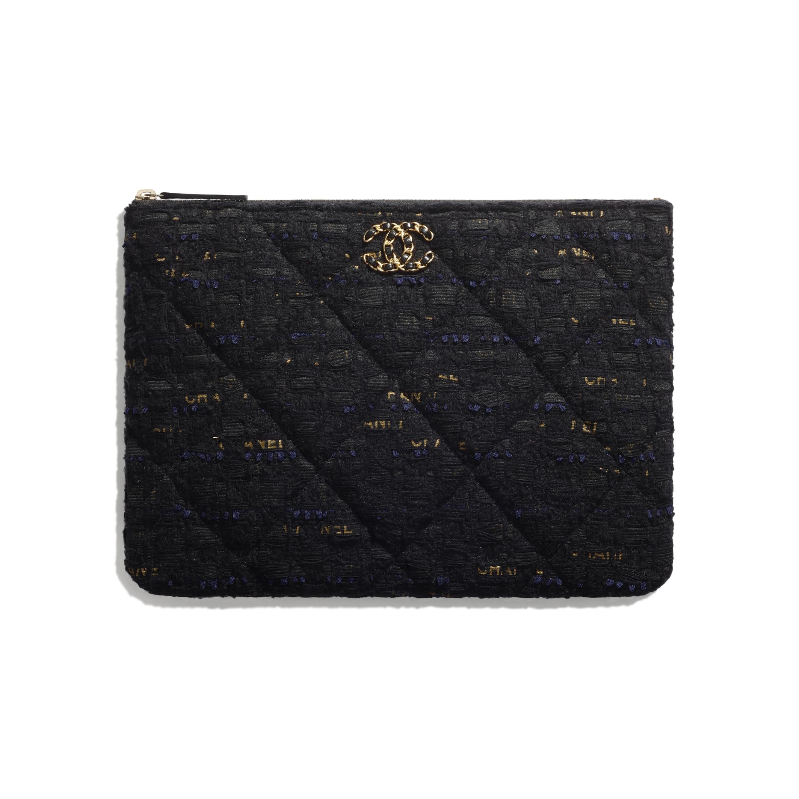 กระเป๋าเพาช์ CHANEL 19 - สีดำ สีน้ำเงินเนวี่บลู และสีทอง - ผ้าทวีตและโลหะสีทอง - CHANEL - มุมมองปัจจุบัน - ดูเวอร์ชันขนาดมาตรฐาน