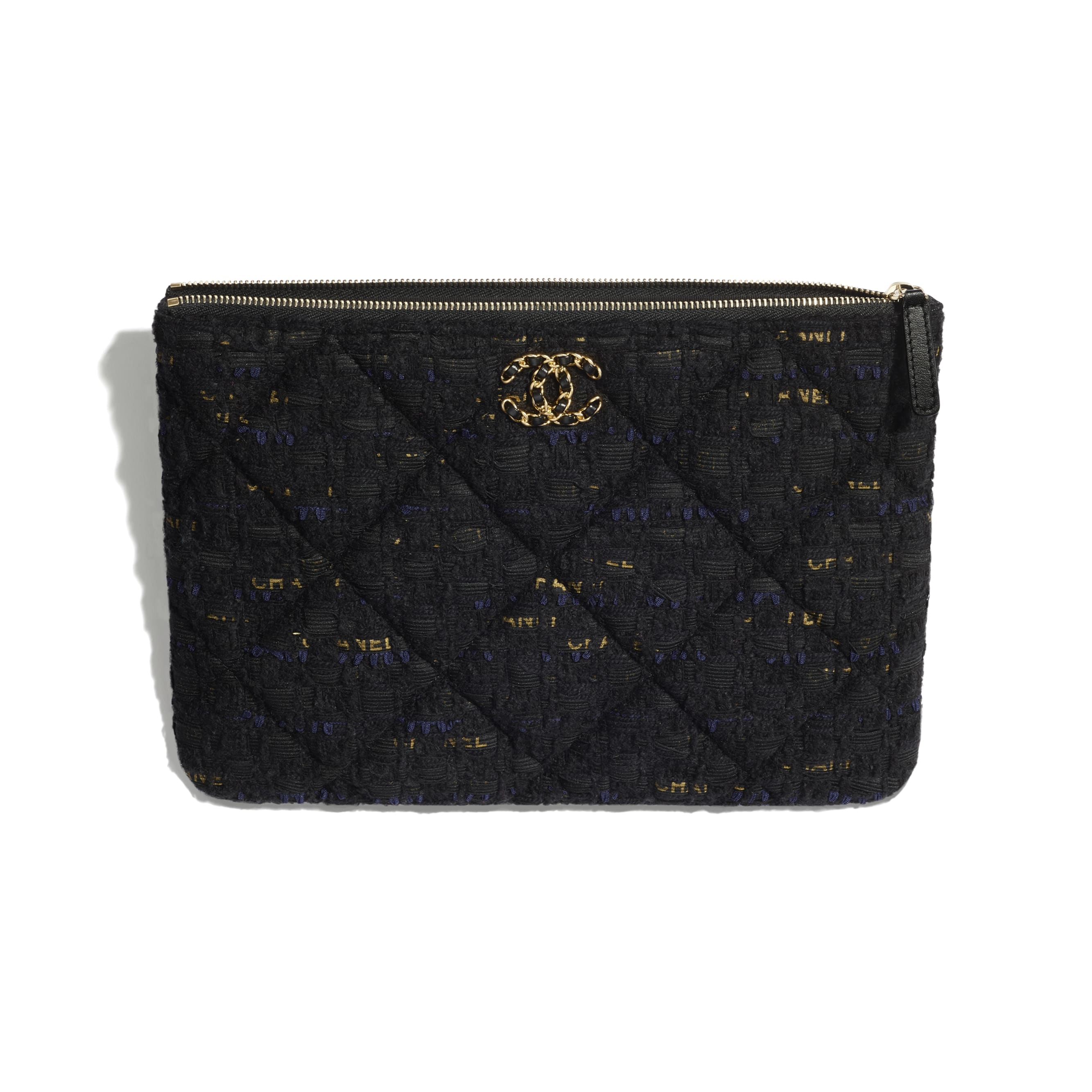 CHANEL 19 Pouch - Black, Navy Blue & Gold - Tweed & Gold Metal - CHANEL - Other view - see standard sized version