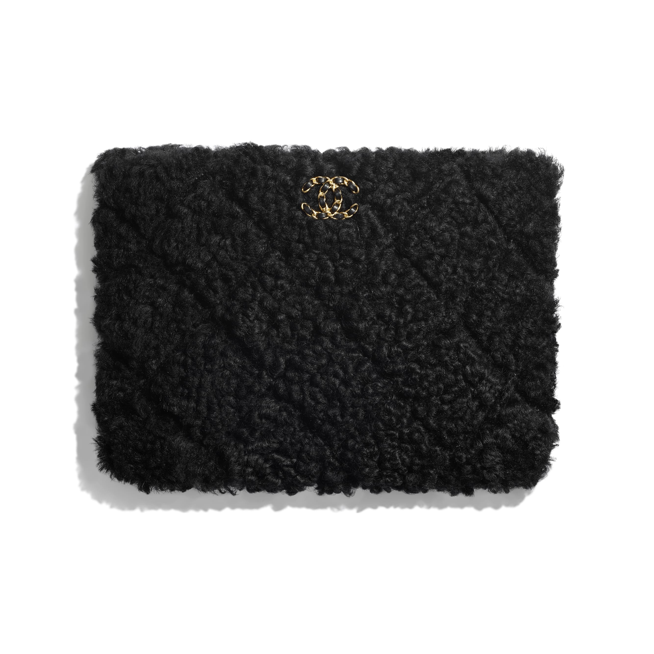 CHANEL 19 Pouch - Black - Shearling Sheepskin, Gold-Tone, Silver-Tone & Ruthenium-Finish Metal - CHANEL - Default view - see standard sized version