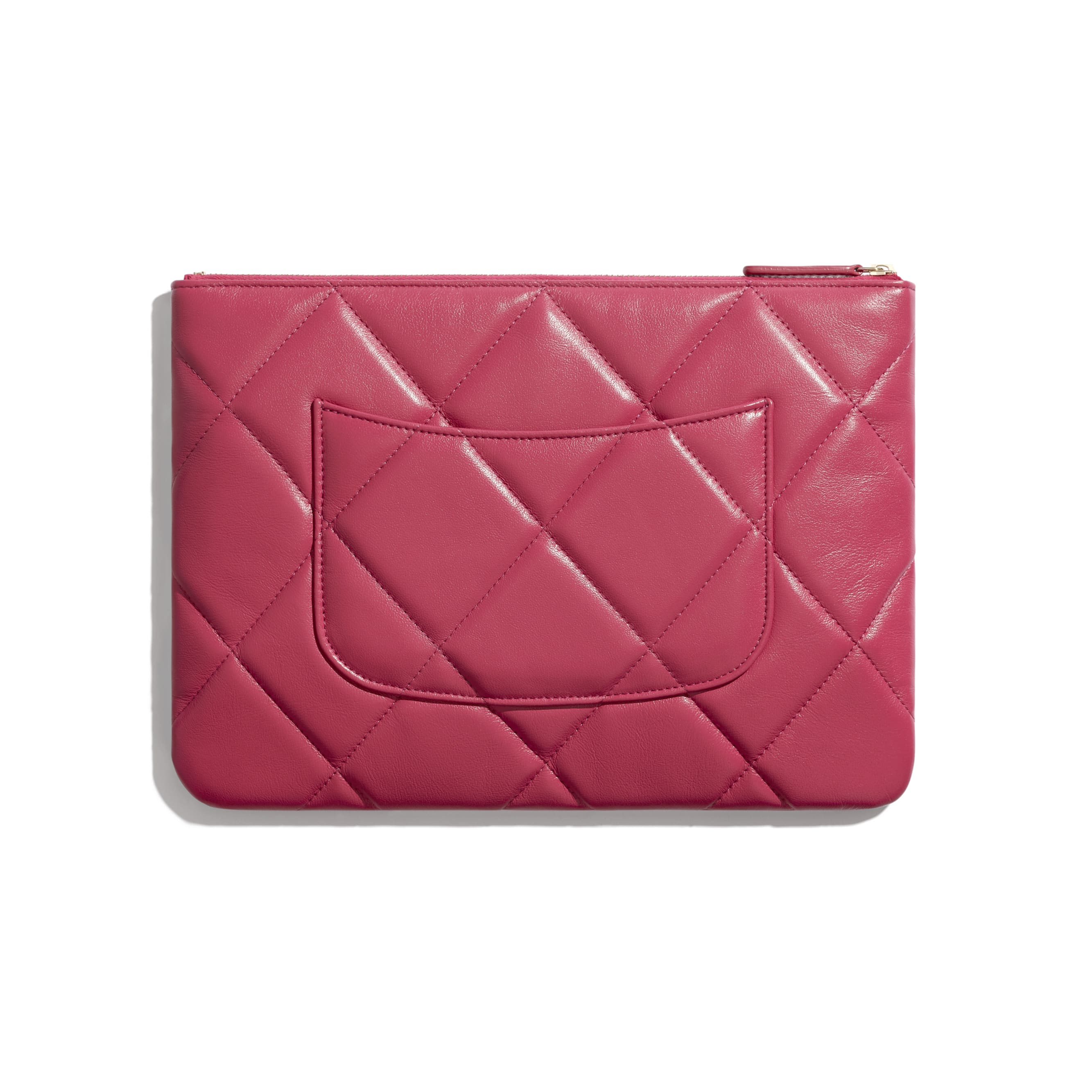 CHANEL 19 Pouch - Dark Pink - Lambskin, Gold-Tone, Silver-Tone & Ruthenium-Finish Metal - CHANEL - Alternative view - see standard sized version
