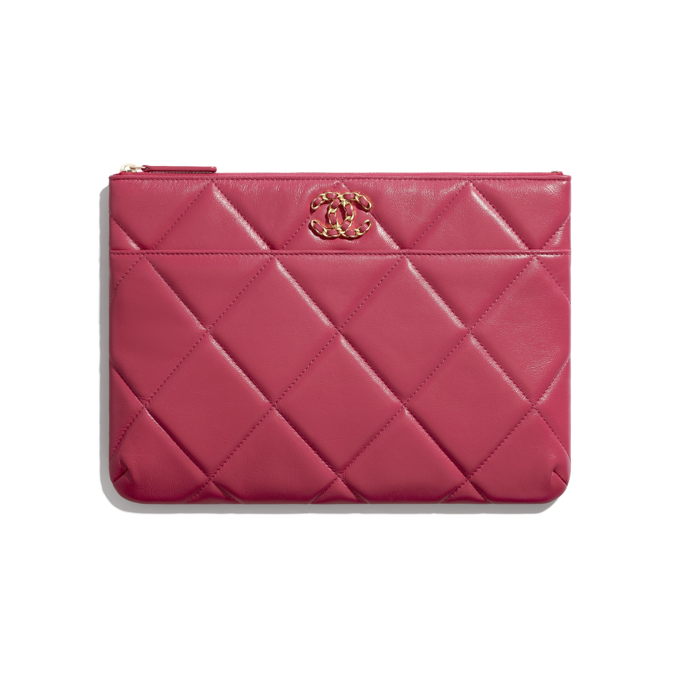CHANEL 19 Pouch - Dark Pink - Lambskin, Gold-Tone, Silver-Tone & Ruthenium-Finish Metal - CHANEL - Default view - see standard sized version