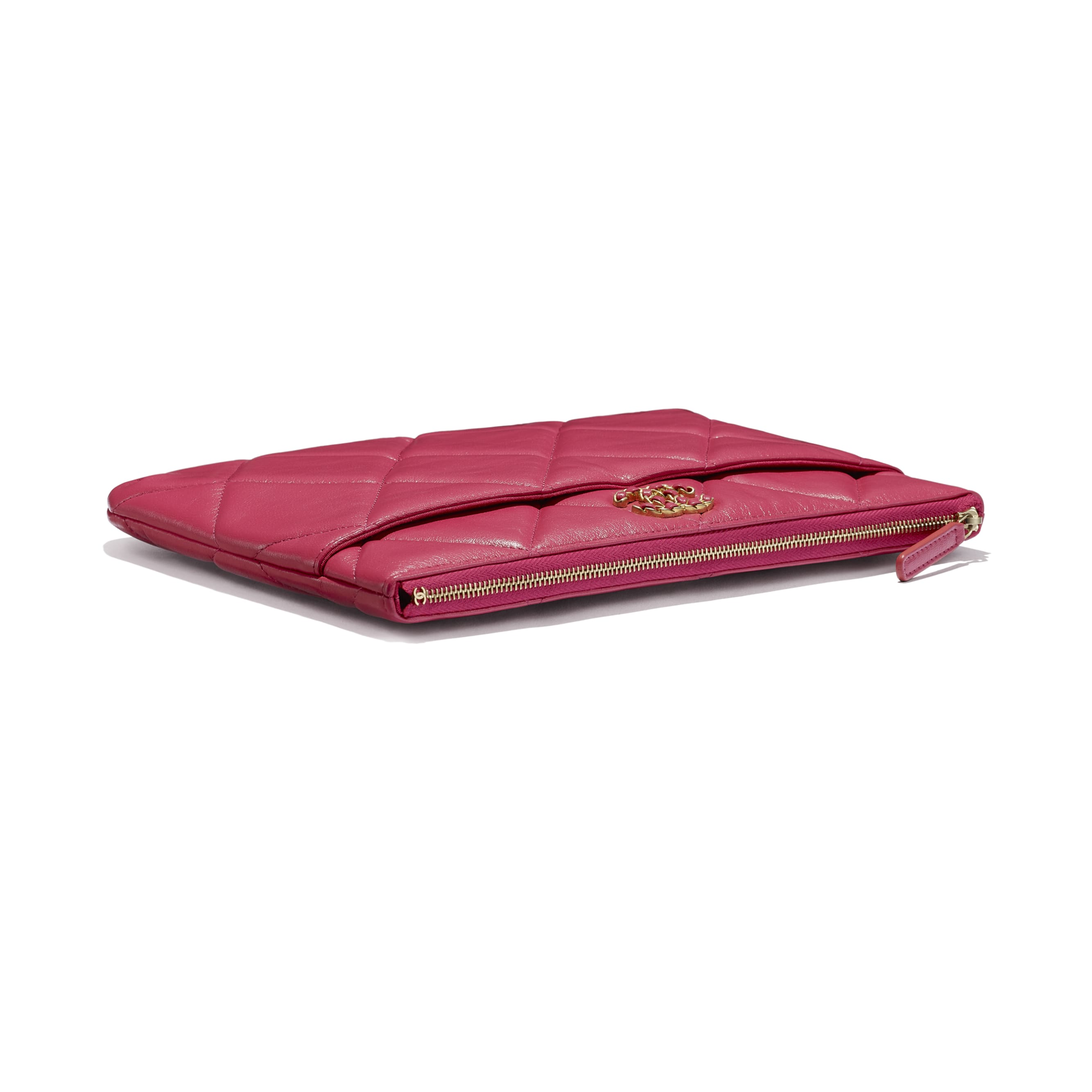 CHANEL 19 Pouch - Dark Pink - Lambskin, Gold-Tone, Silver-Tone & Ruthenium-Finish Metal - CHANEL - Extra view - see standard sized version