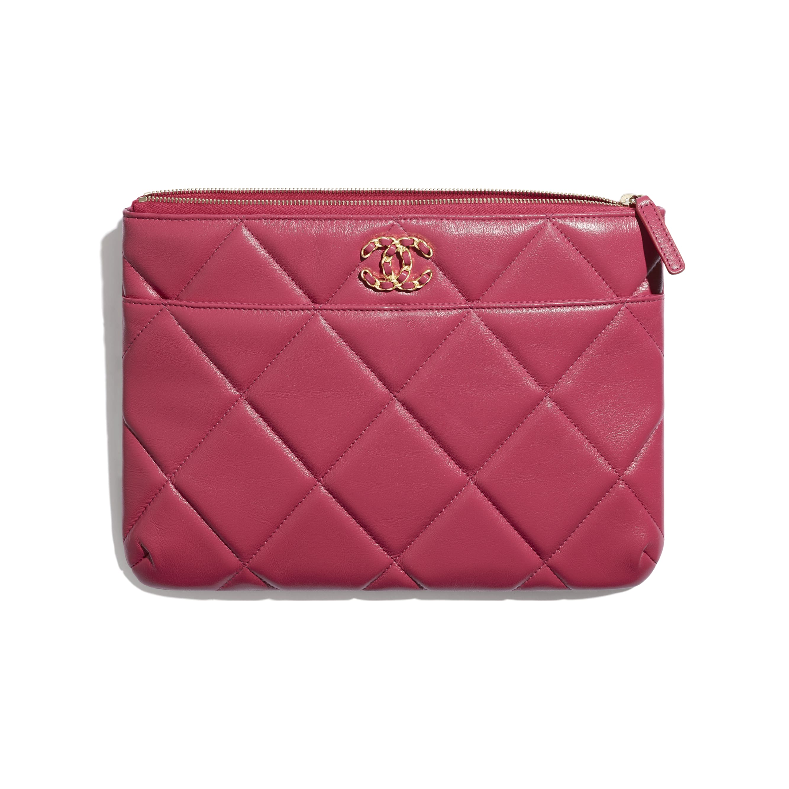 CHANEL 19 Pouch - Dark Pink - Lambskin, Gold-Tone, Silver-Tone & Ruthenium-Finish Metal - CHANEL - Other view - see standard sized version