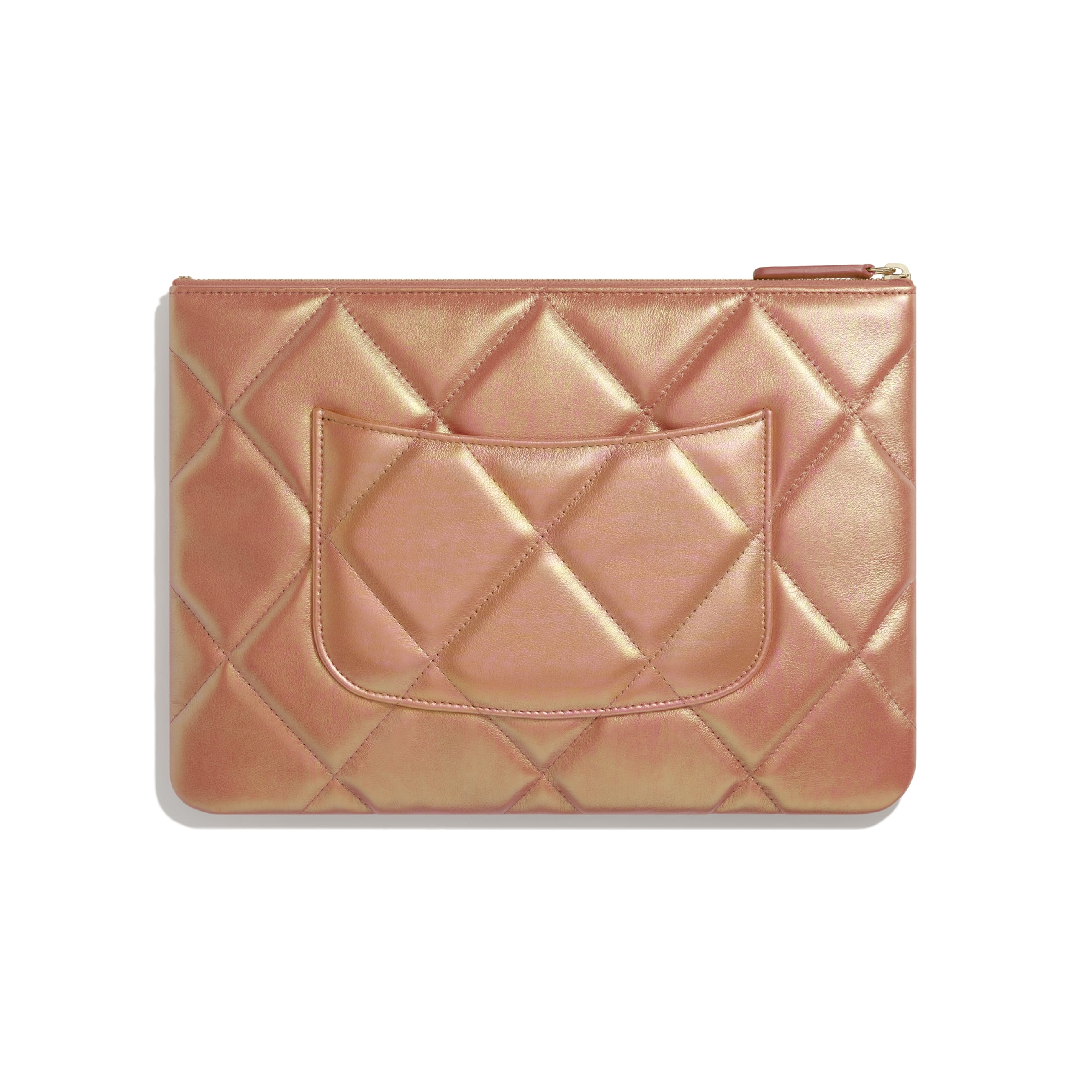 CHANEL 19 Pouch - Pink - Iridescent Calfskin, Gold-Tone, Silver-Tone & Ruthenium-Finish Metal - CHANEL - Alternative view - see standard sized version