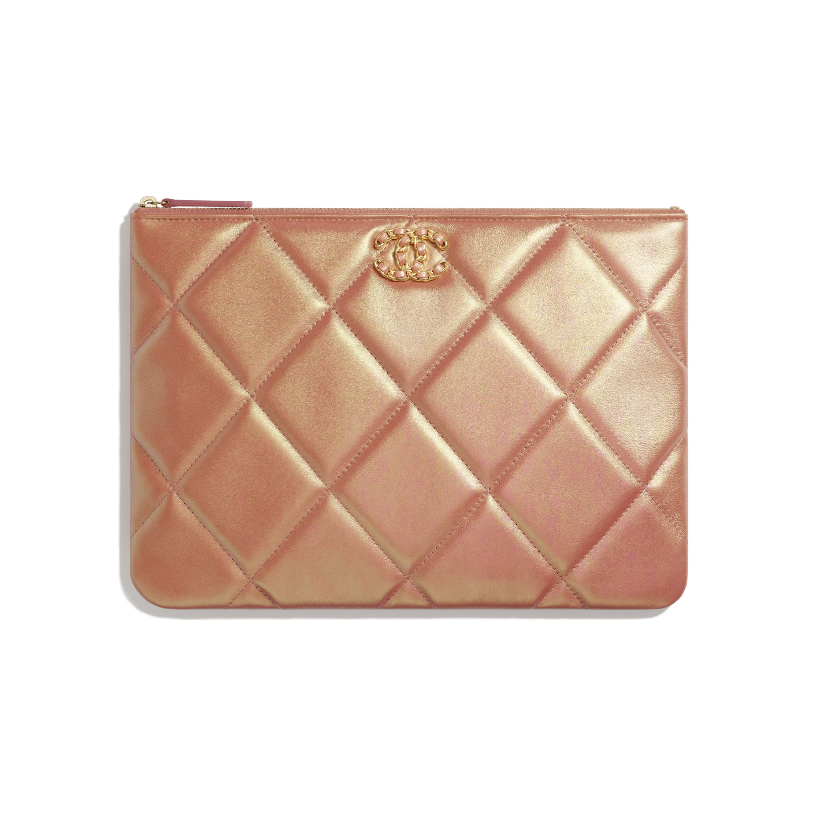 CHANEL 19 Pouch - Pink - Iridescent Calfskin, Gold-Tone, Silver-Tone & Ruthenium-Finish Metal - CHANEL - Default view - see standard sized version