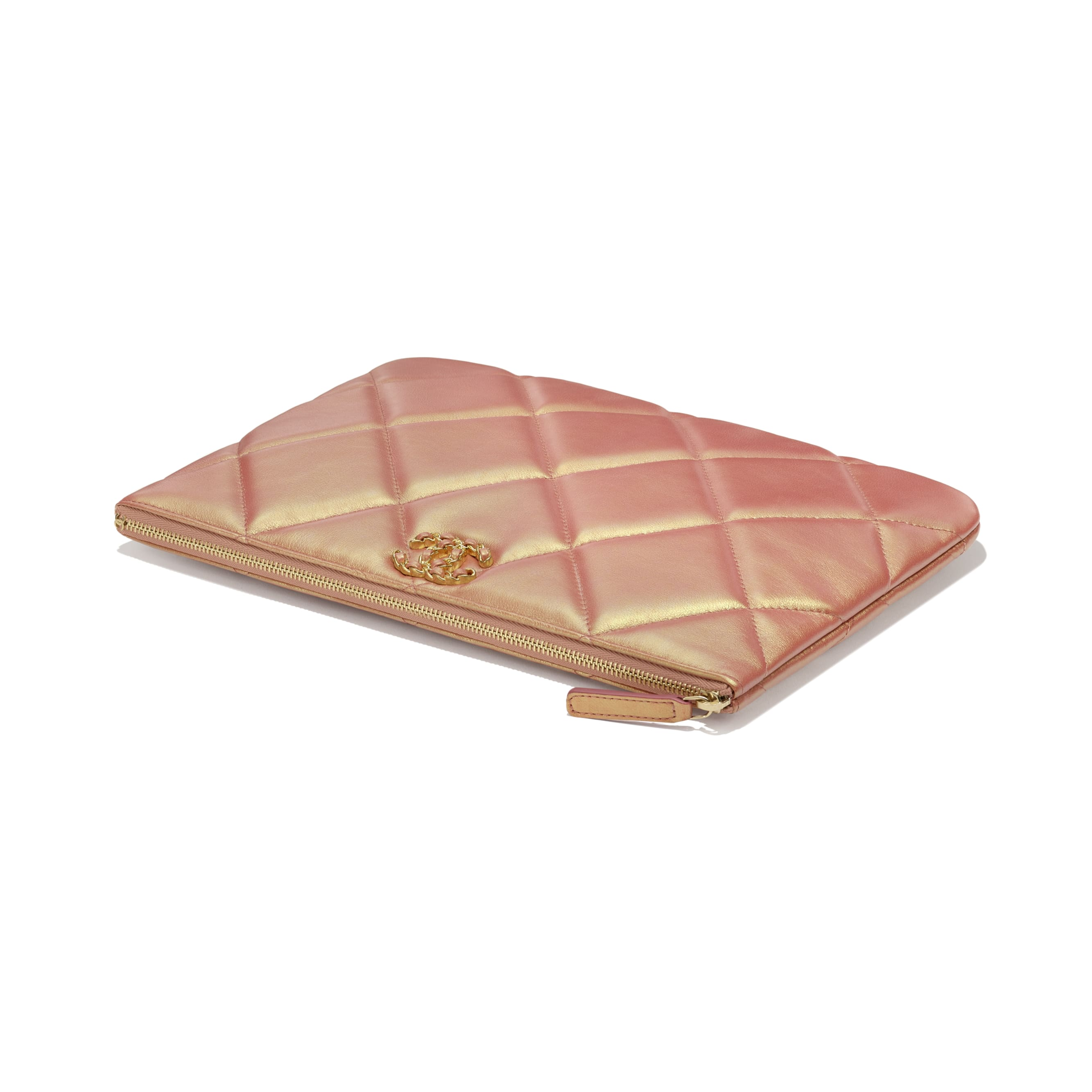 CHANEL 19 Pouch - Pink - Iridescent Calfskin, Gold-Tone, Silver-Tone & Ruthenium-Finish Metal - CHANEL - Extra view - see standard sized version