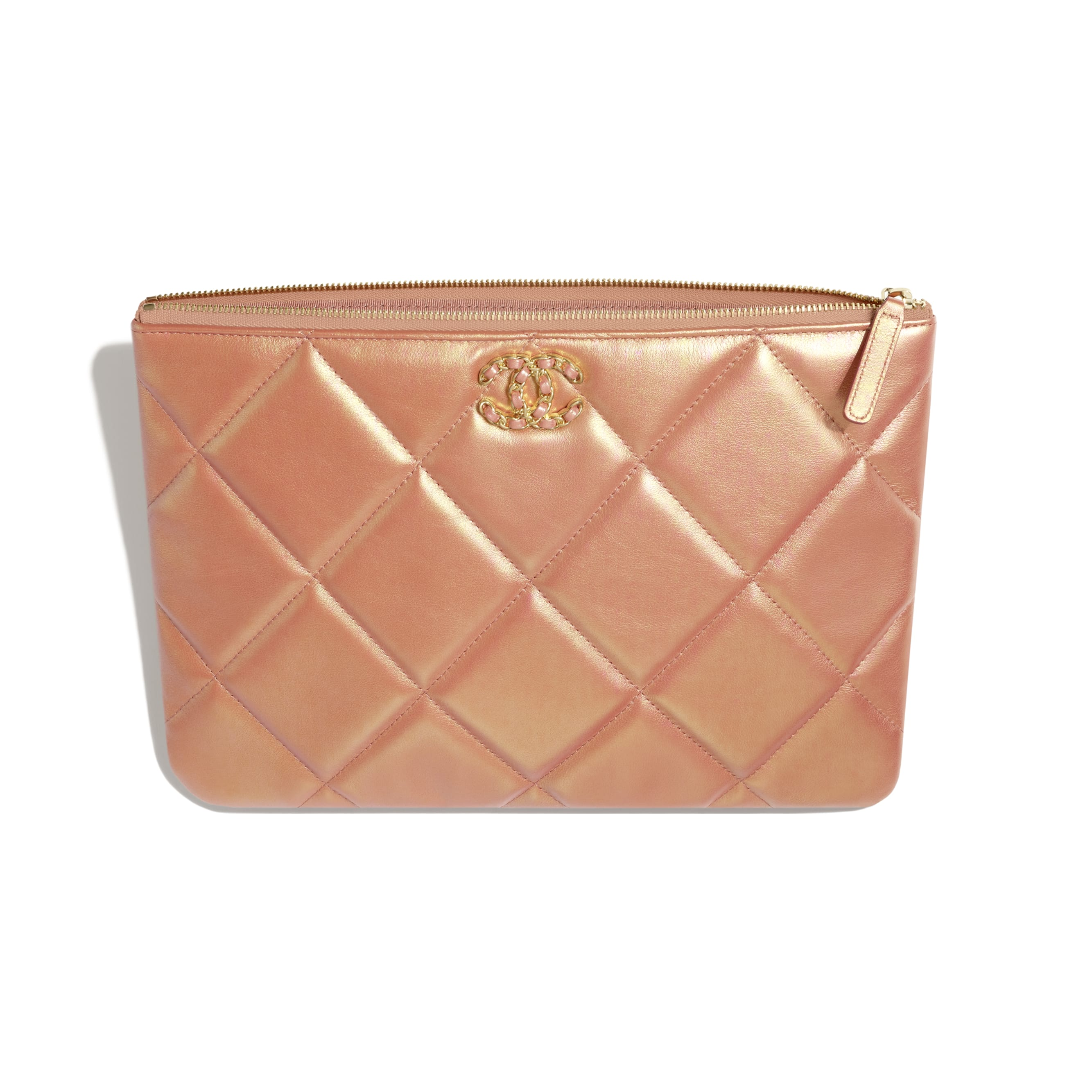 CHANEL 19 Pouch - Pink - Iridescent Calfskin, Gold-Tone, Silver-Tone & Ruthenium-Finish Metal - CHANEL - Other view - see standard sized version