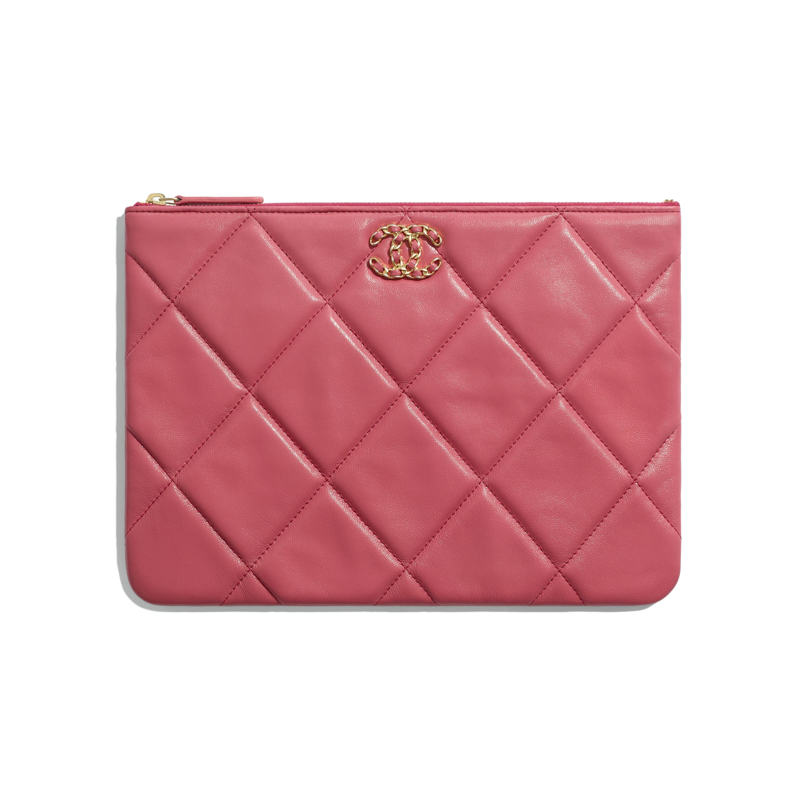CHANEL 19 Pouch - Pink - Lambskin, Gold-Tone, Silver-Tone & Ruthenium-Finish Metal - Default view - see standard sized version