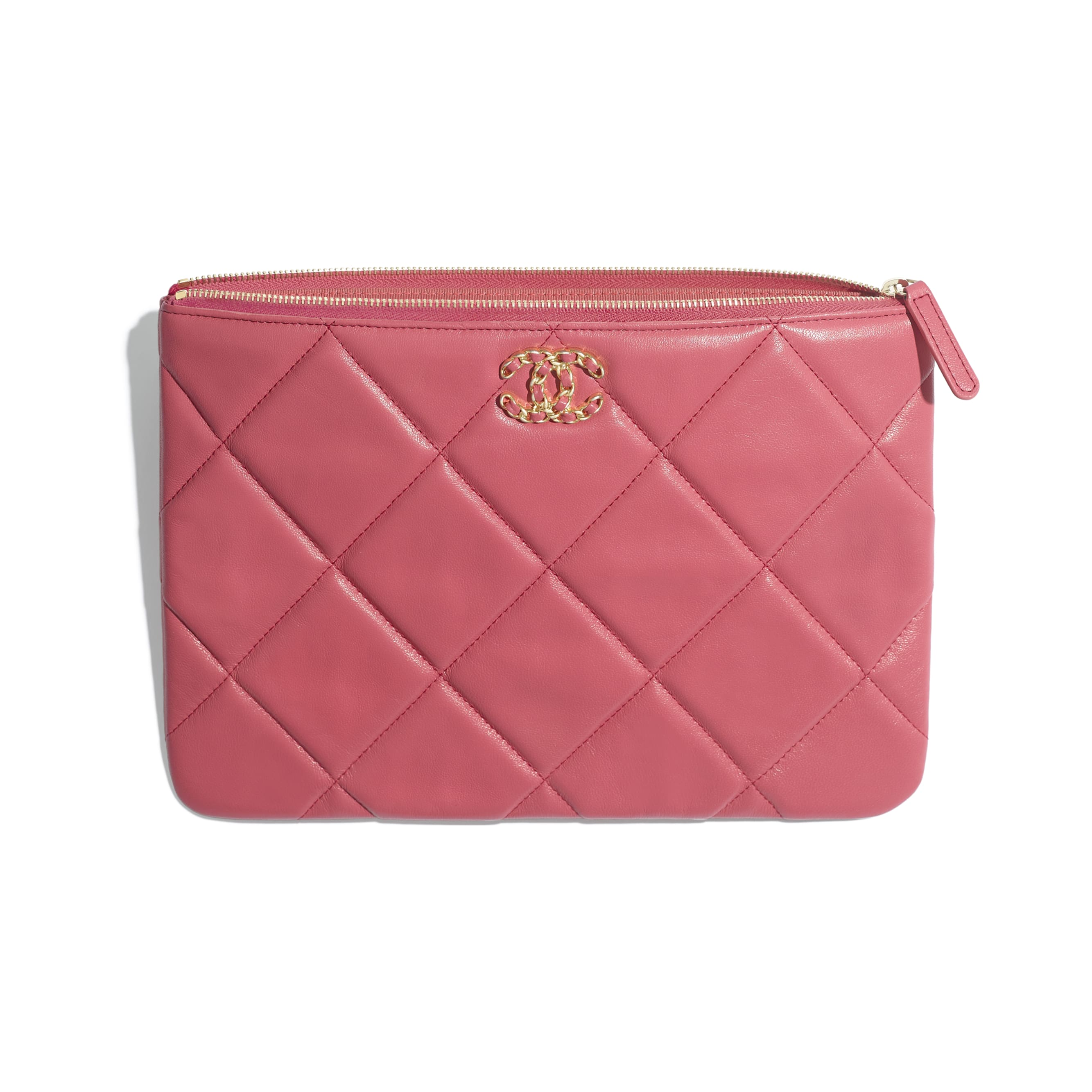 CHANEL 19 Pouch - Pink - Lambskin, Gold-Tone, Silver-Tone & Ruthenium-Finish Metal - Other view - see standard sized version