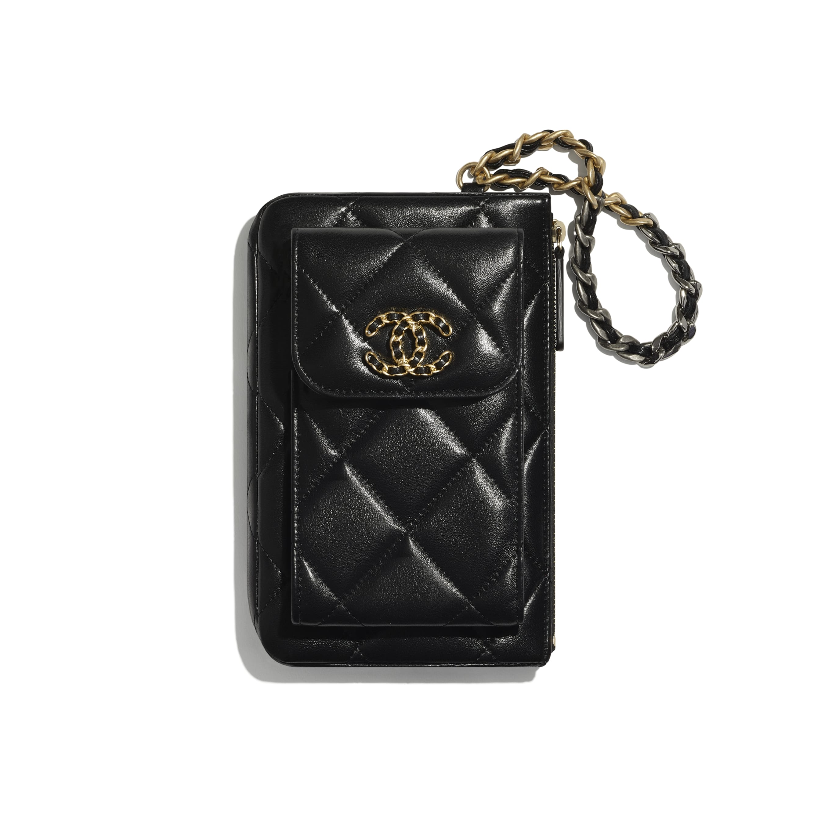 CHANEL 19 Pouch with Handle - Black - Lambskin, Gold-Tone, Silver-Tone & Ruthenium-Finish Metal - CHANEL - Default view - see standard sized version