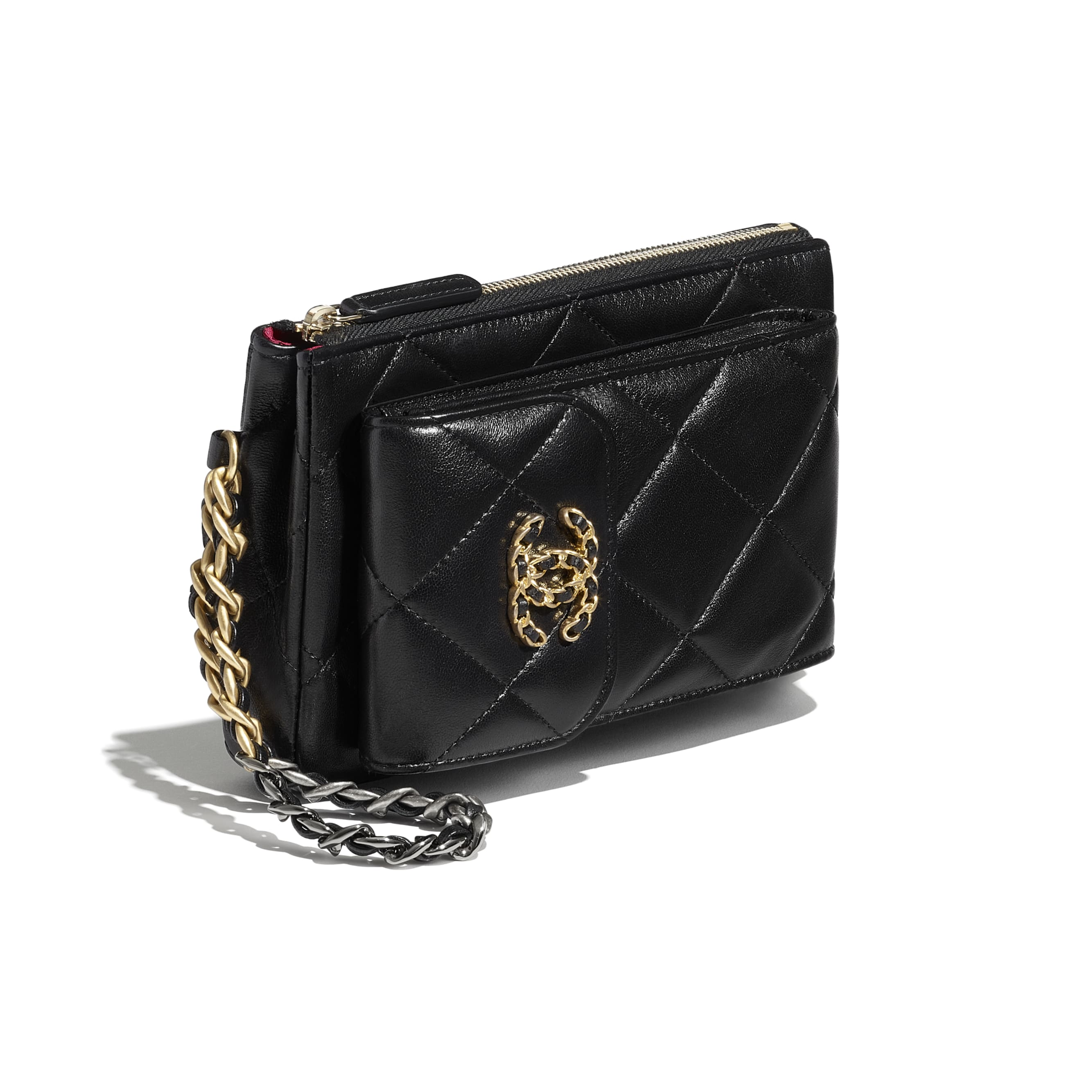 CHANEL 19 Pouch with Handle - Black - Lambskin, Gold-Tone, Silver-Tone & Ruthenium-Finish Metal - CHANEL - Extra view - see standard sized version