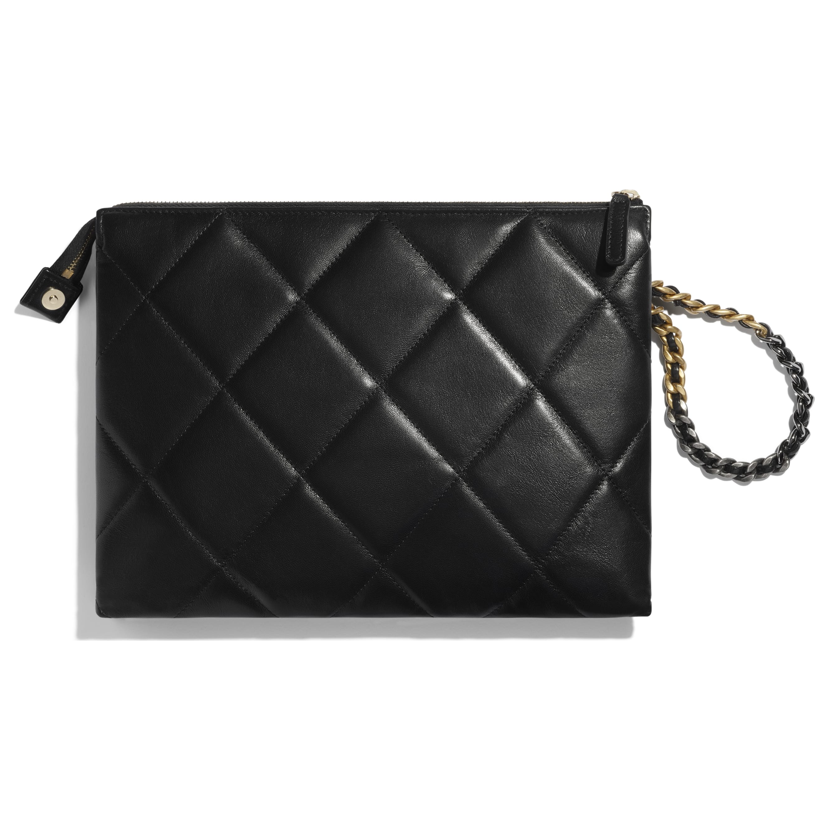CHANEL 19 Pouch with Handle - Black - Shiny Goatskin, Gold-Tone, Silver-Tone & Ruthenium-Finish Metal - CHANEL - Alternative view - see standard sized version