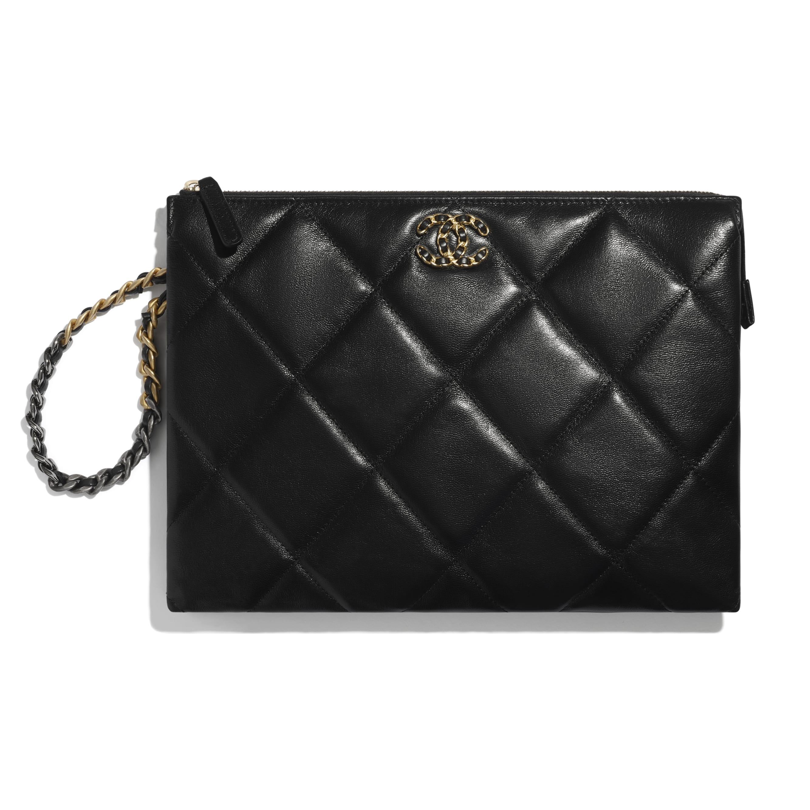 CHANEL 19 Pouch with Handle - Black - Shiny Goatskin, Gold-Tone, Silver-Tone & Ruthenium-Finish Metal - CHANEL - Default view - see standard sized version