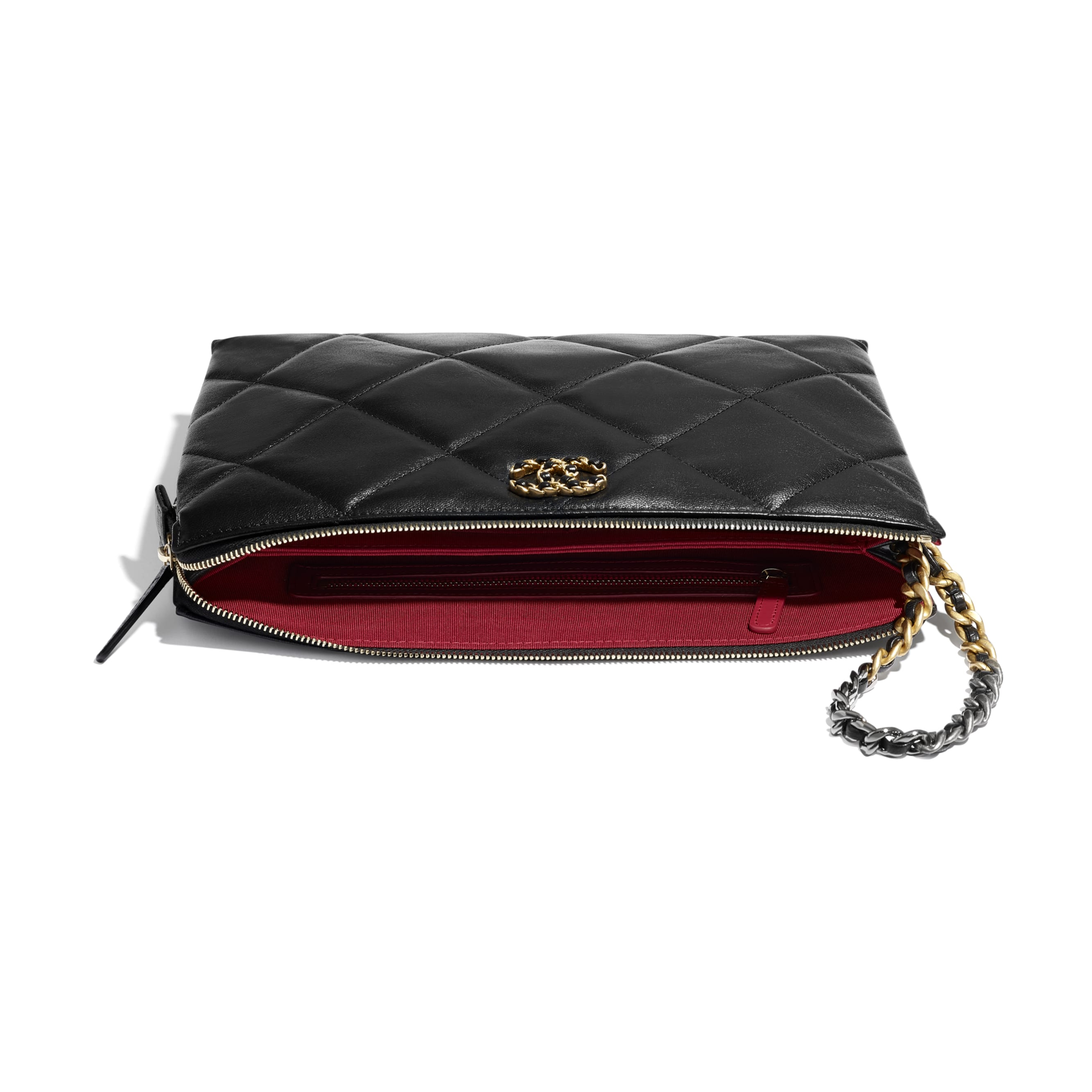 CHANEL 19 Pouch with Handle - Black - Shiny Goatskin, Gold-Tone, Silver-Tone & Ruthenium-Finish Metal - CHANEL - Extra view - see standard sized version