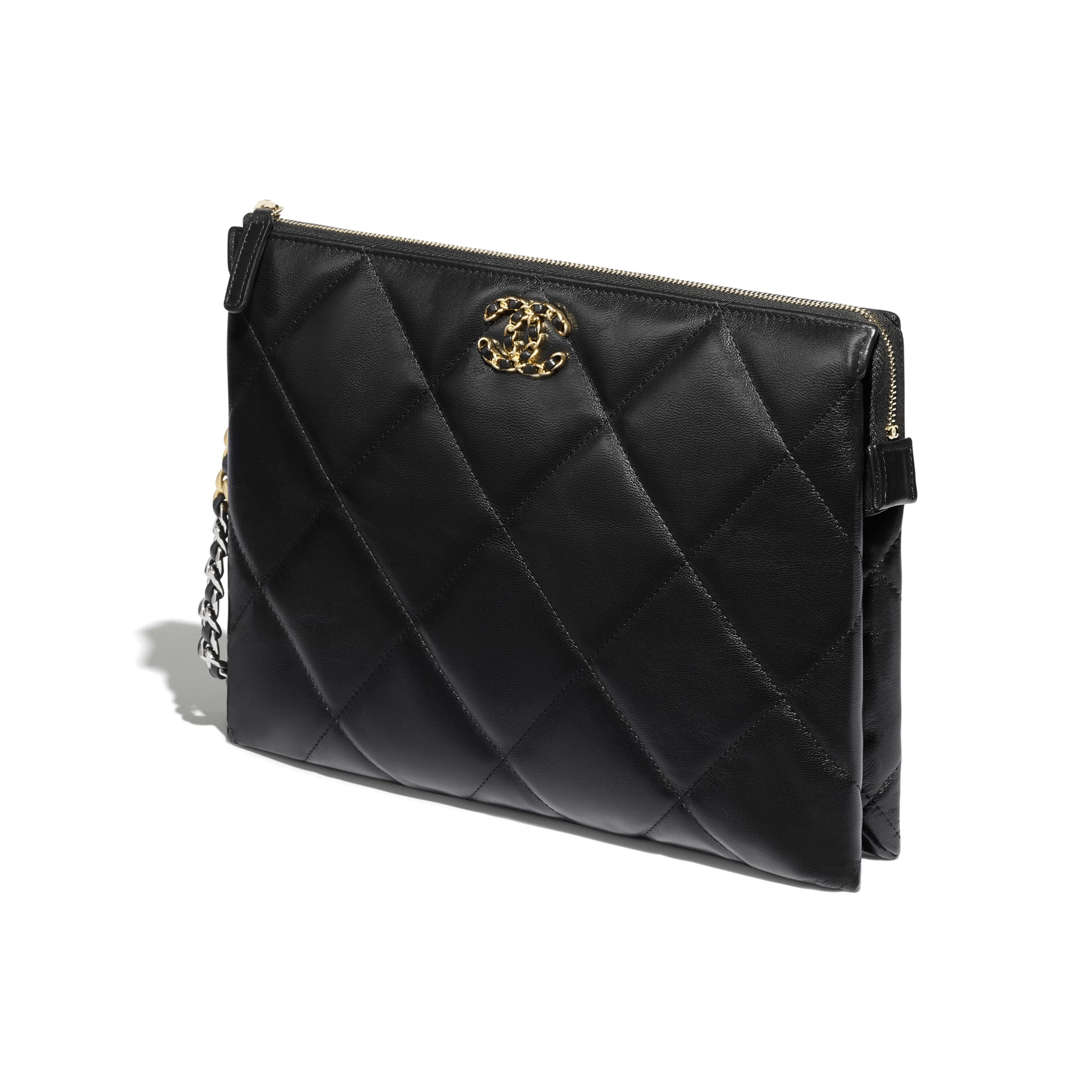 CHANEL 19 Pouch with Handle - Black - Shiny Goatskin, Gold-Tone, Silver-Tone & Ruthenium-Finish Metal - CHANEL - Other view - see standard sized version