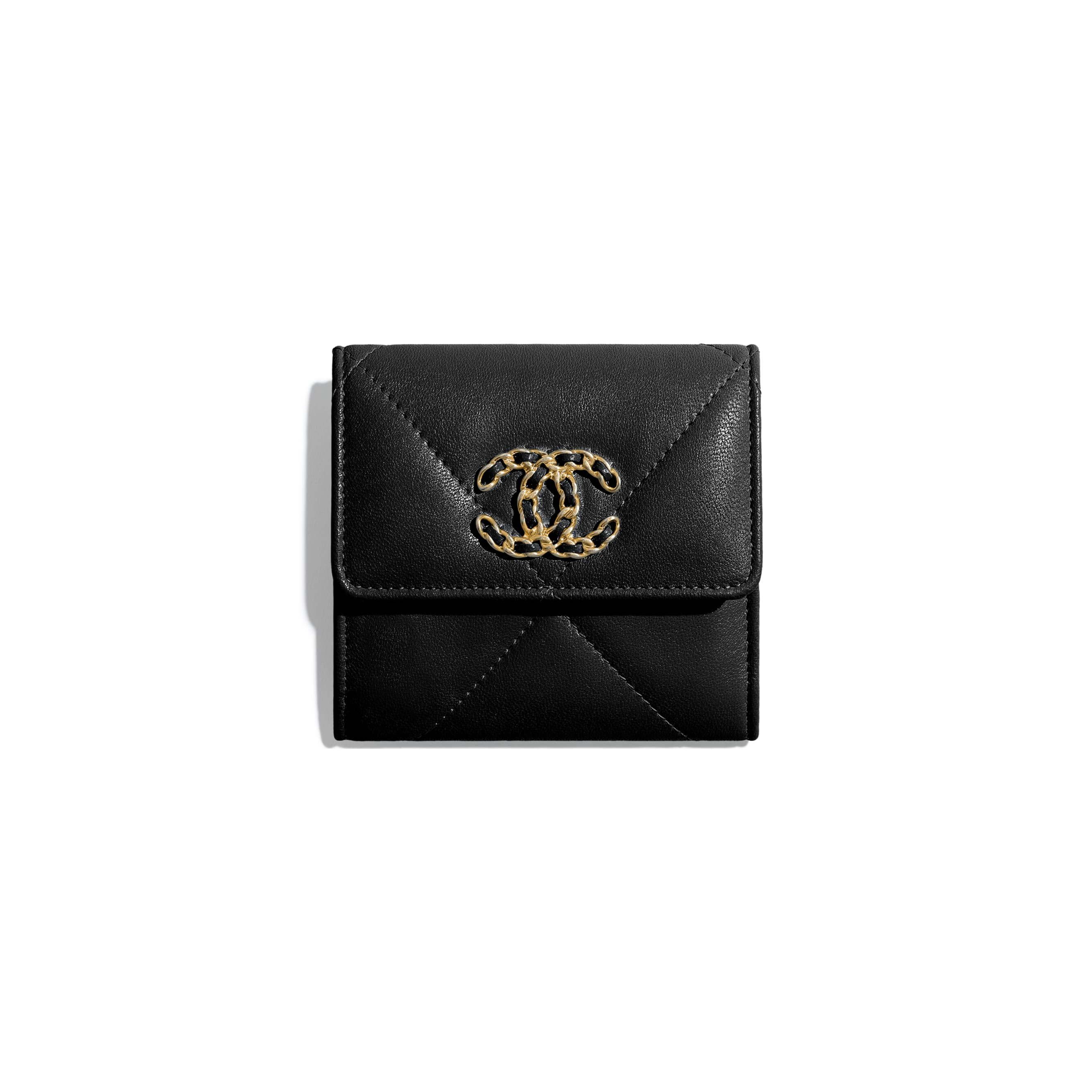 CHANEL 19 Small Flap Wallet - Black - Shiny Goatskin & Gold-Tone Metal - CHANEL - Default view - see standard sized version
