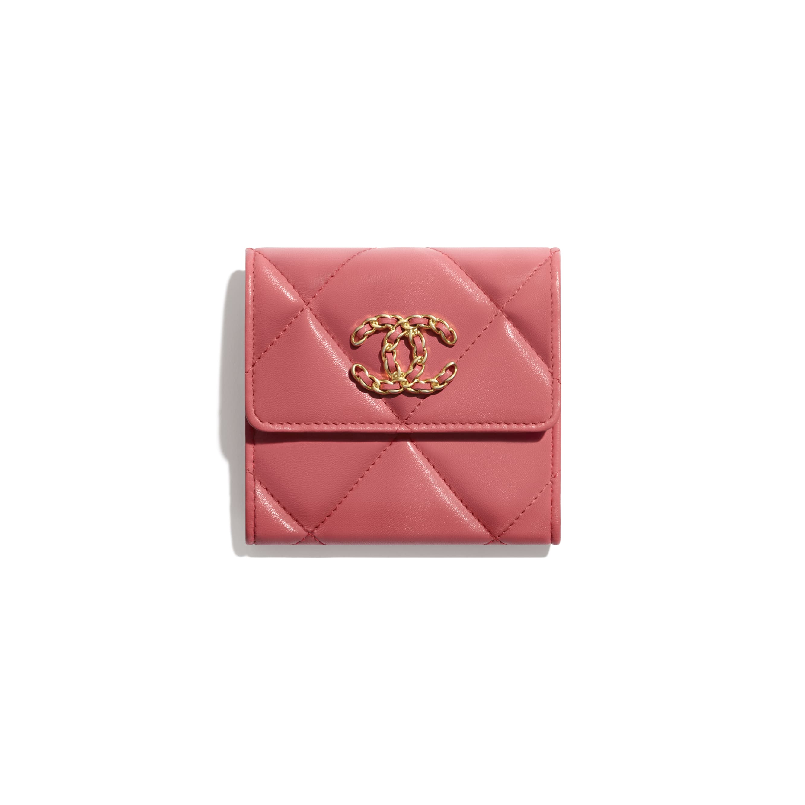 CHANEL 19 Small Flap Wallet - Coral - Lambskin, Gold-Tone, Silver-Tone & Ruthenium-Finish Metal - CHANEL - Default view - see standard sized version