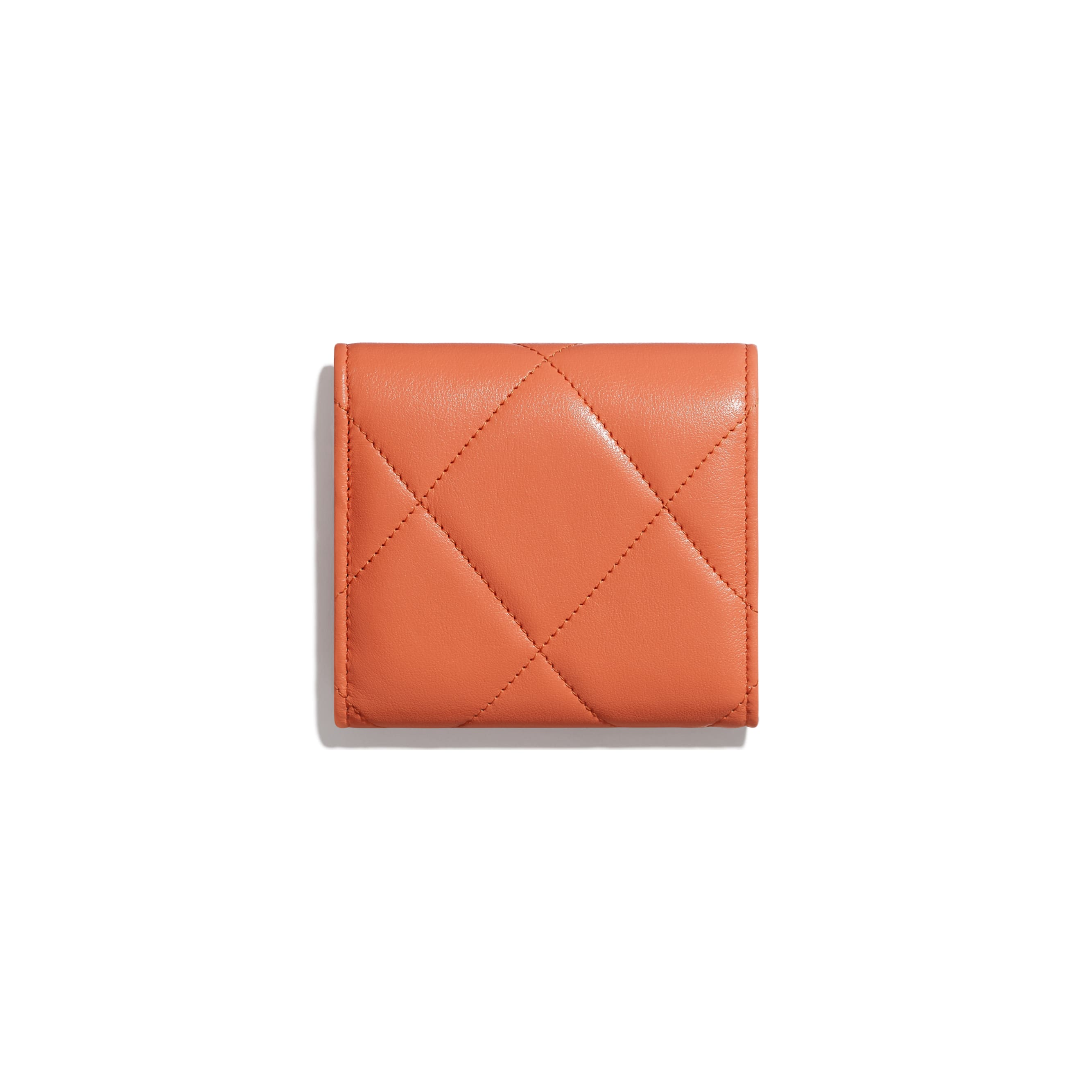 CHANEL 19 Small Flap Wallet - Orange - Lambskin, Gold-Tone, Silver-Tone & Ruthenium-Finish Metal - CHANEL - Alternative view - see standard sized version