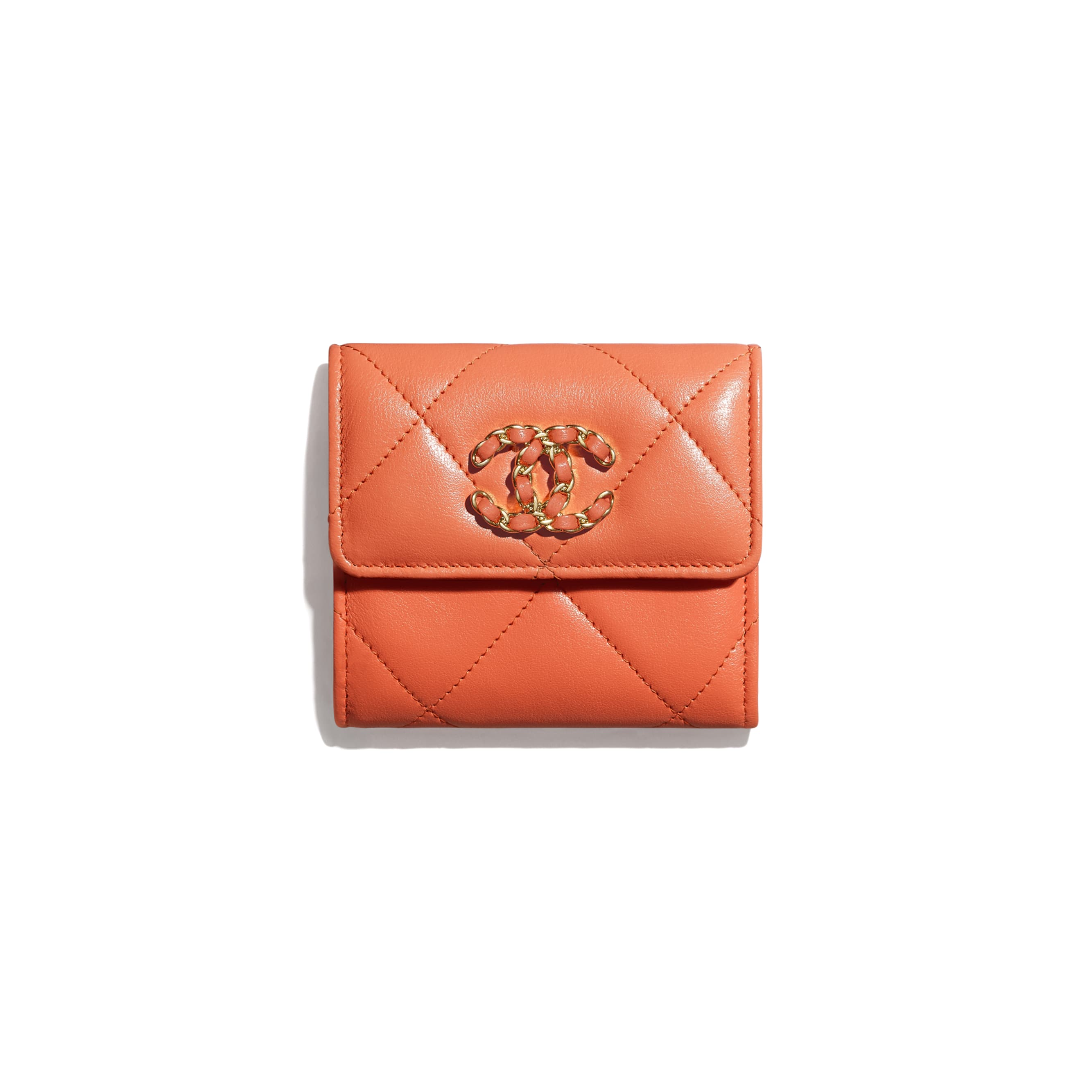 CHANEL 19 Small Flap Wallet - Orange - Lambskin, Gold-Tone, Silver-Tone & Ruthenium-Finish Metal - CHANEL - Default view - see standard sized version