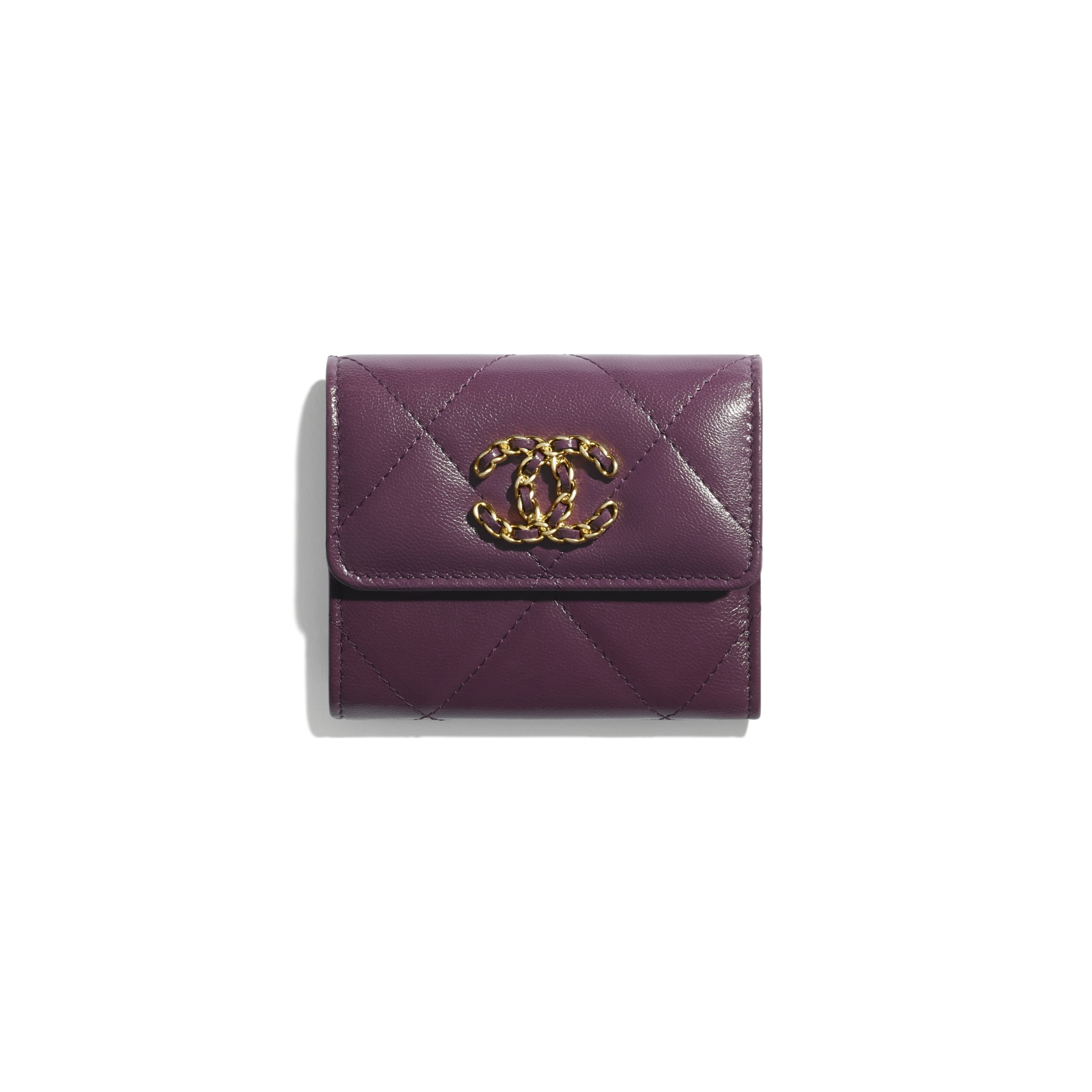 CHANEL 19 Small Flap Wallet - Purple - Shiny Goatskin & Gold-Tone Metal - CHANEL - Default view - see standard sized version