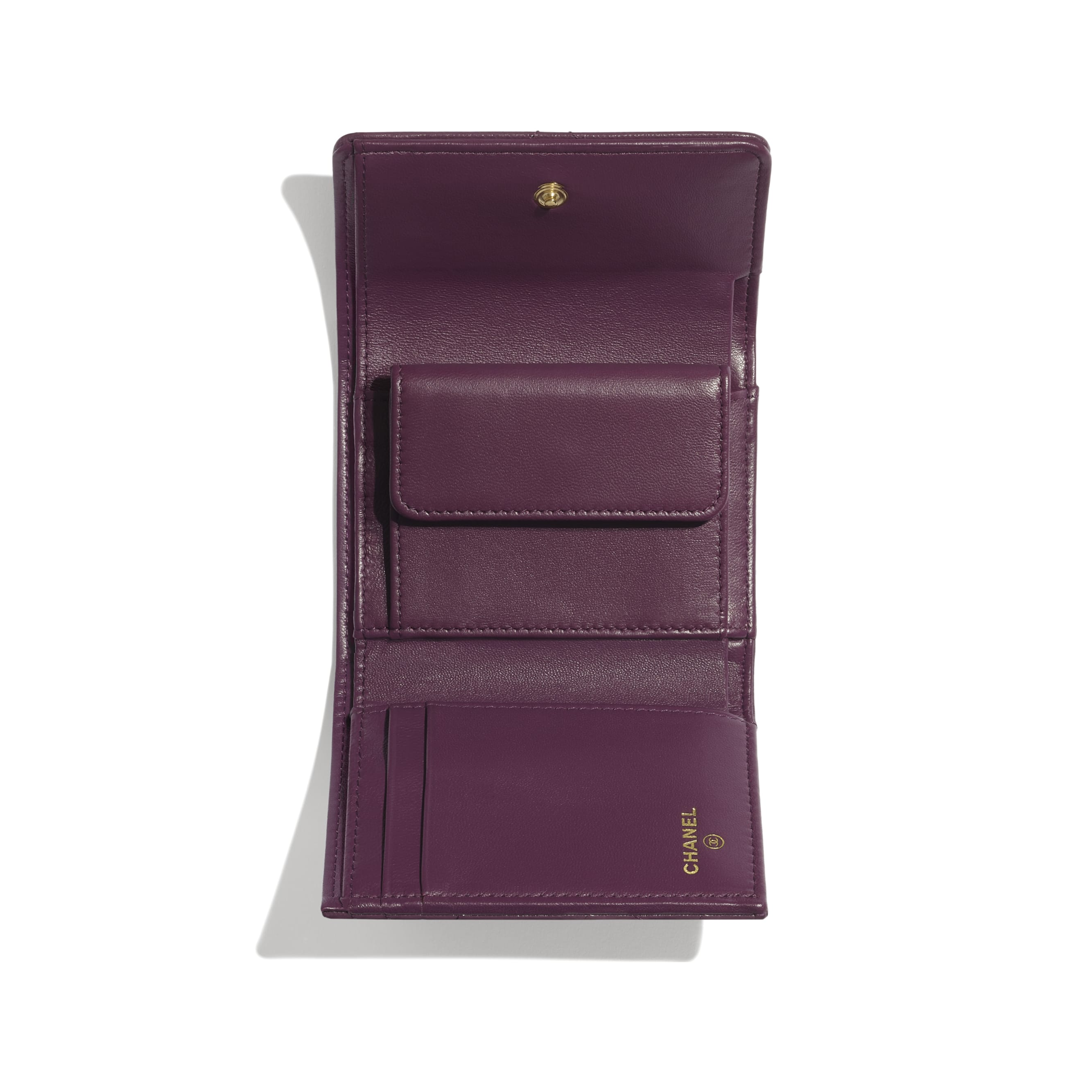 CHANEL 19 Small Flap Wallet - Purple - Shiny Goatskin & Gold-Tone Metal - CHANEL - Other view - see standard sized version