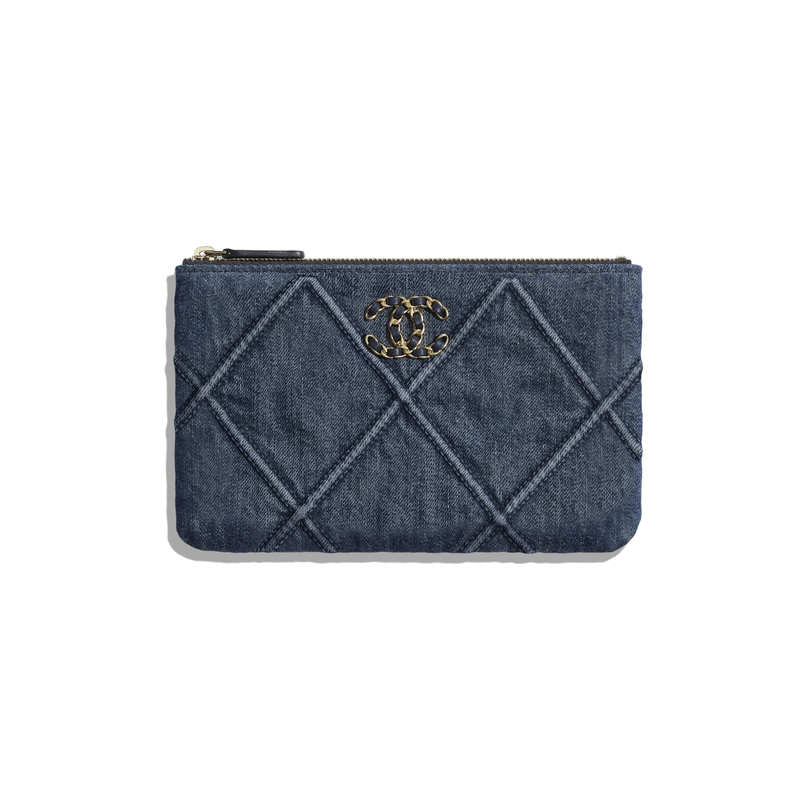 CHANEL 19 Small Pouch - Blue - Denim, Gold-Tone, Silver-Tone & Ruthenium-Finish Metal - CHANEL - Default view - see standard sized version