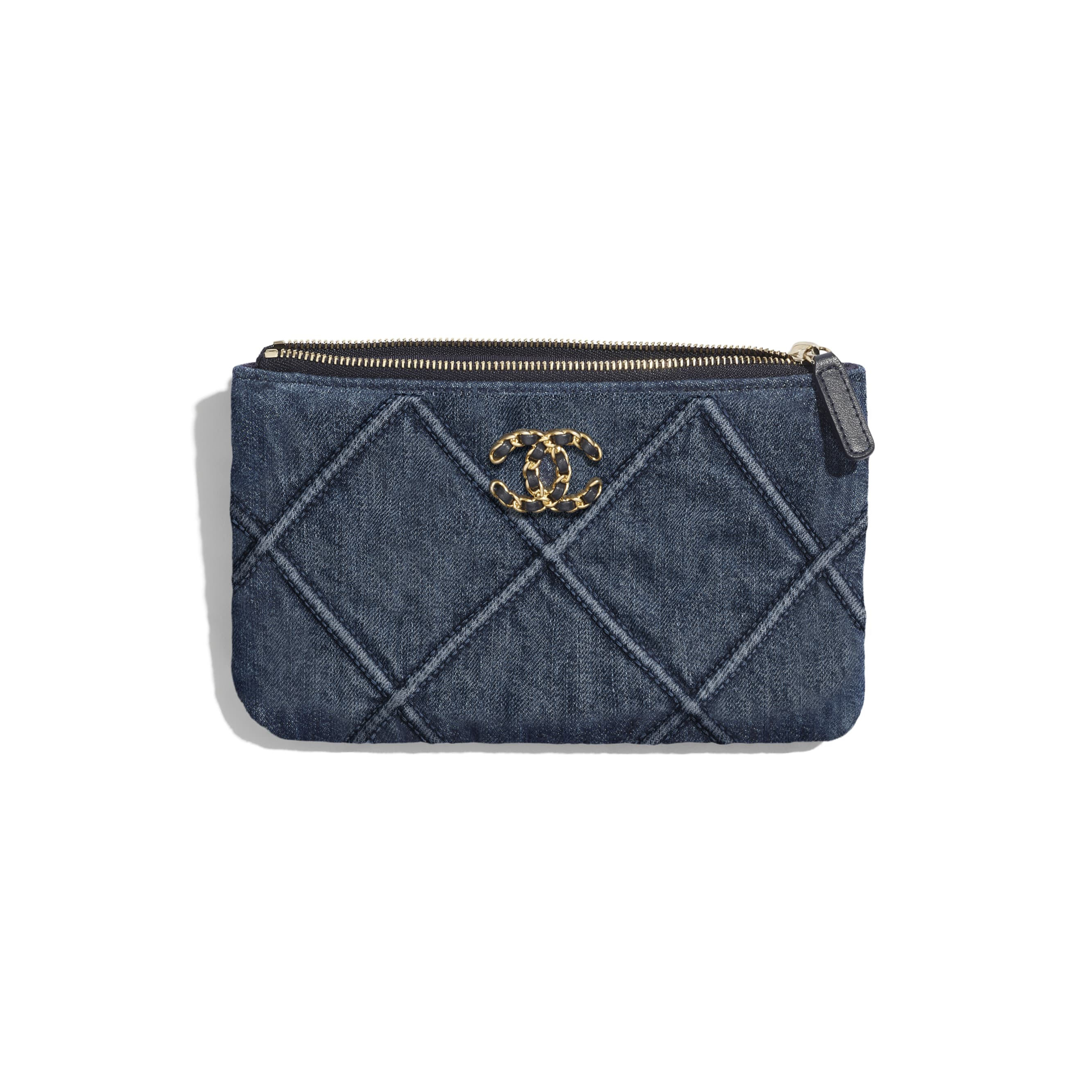 CHANEL 19 Small Pouch - Blue - Denim, Gold-Tone, Silver-Tone & Ruthenium-Finish Metal - CHANEL - Other view - see standard sized version