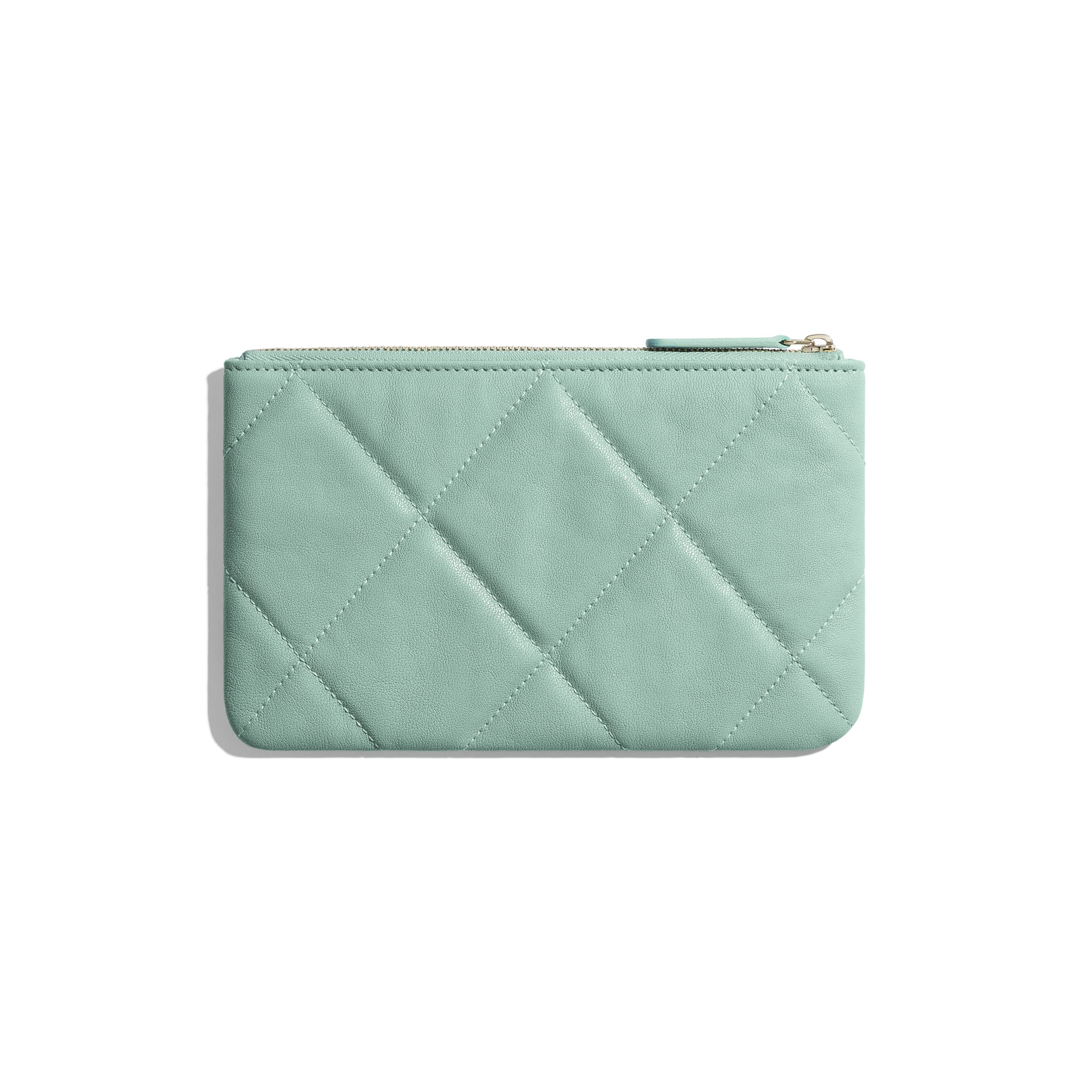 CHANEL 19 Small Pouch - Blue - Lambskin, Gold-Tone, Silver-Tone & Ruthenium-Finish Metal - Alternative view - see standard sized version