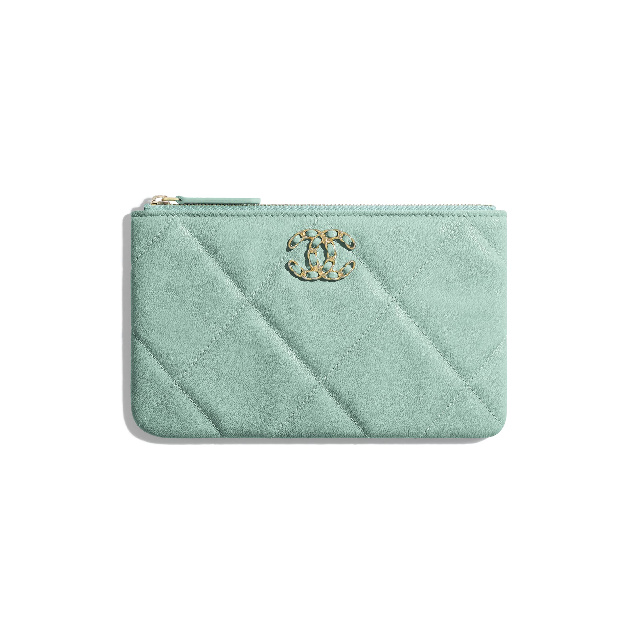 CHANEL 19 Small Pouch - Blue - Lambskin, Gold-Tone, Silver-Tone & Ruthenium-Finish Metal - Default view - see standard sized version