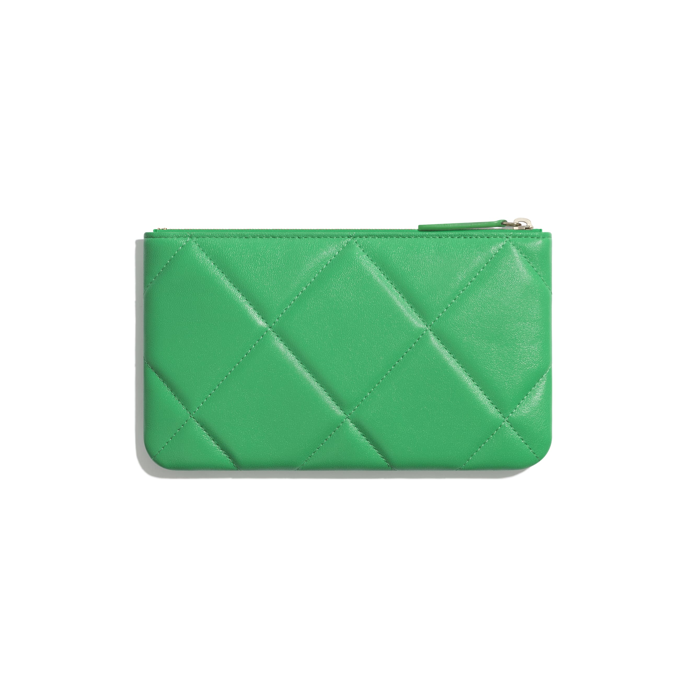CHANEL 19 Small Pouch - Green - Lambskin, Gold-Tone, Silver-Tone & Ruthenium-Finish Metal - Alternative view - see standard sized version
