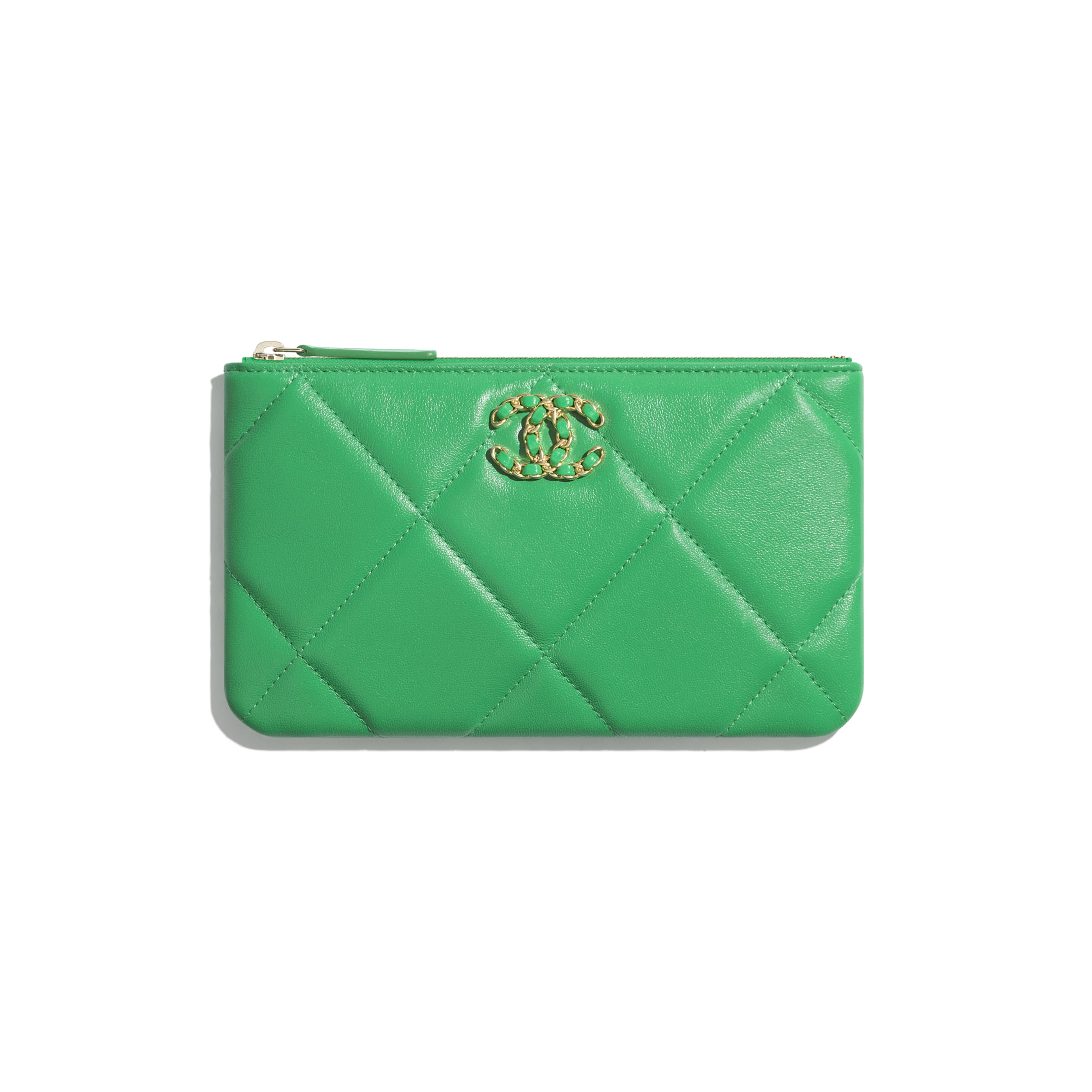 CHANEL 19 Small Pouch - Green - Lambskin, Gold-Tone, Silver-Tone & Ruthenium-Finish Metal - CHANEL - Default view - see standard sized version