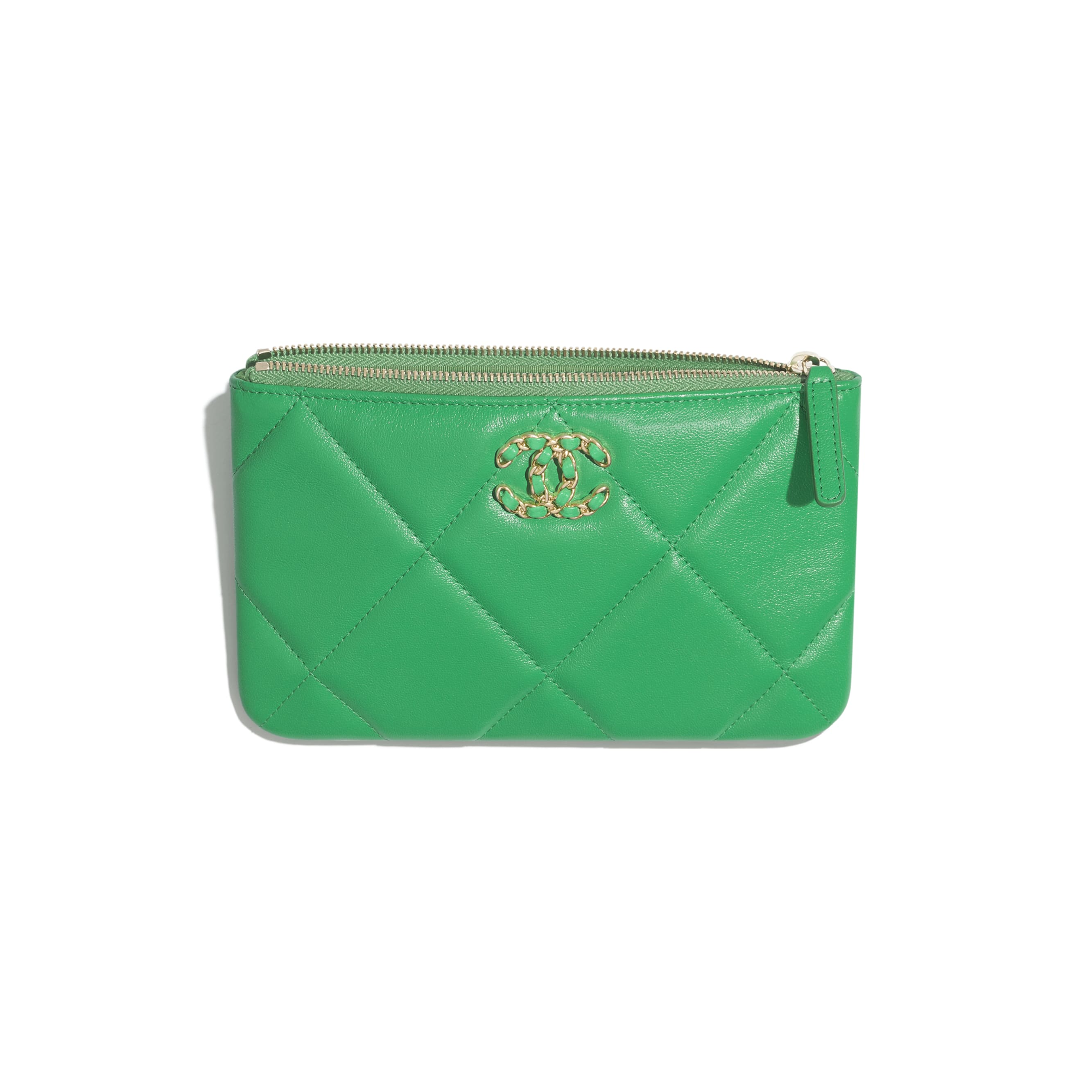 CHANEL 19 Small Pouch - Green - Lambskin, Gold-Tone, Silver-Tone & Ruthenium-Finish Metal - Other view - see standard sized version
