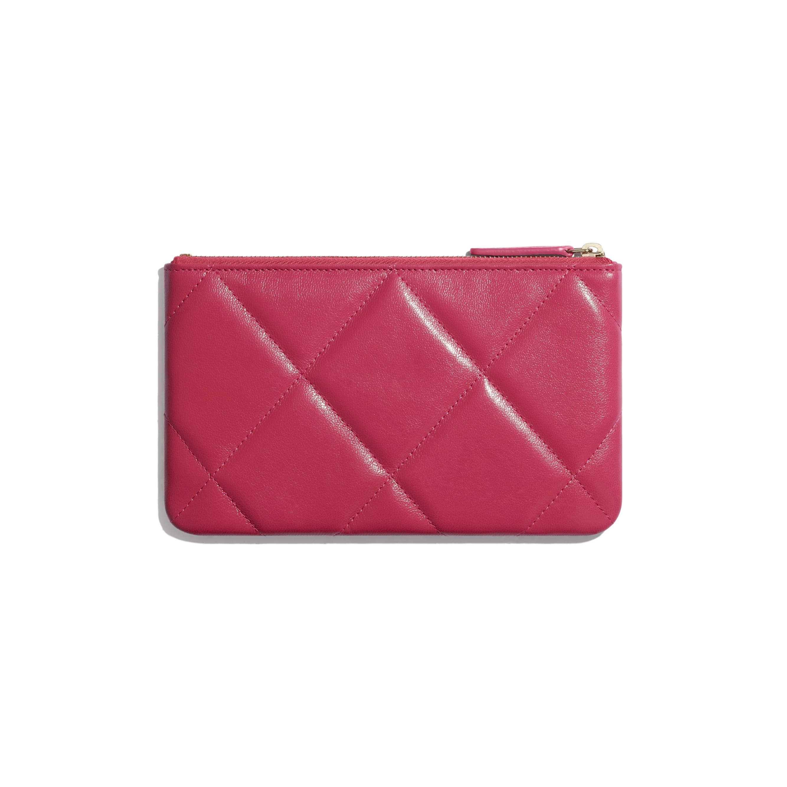 CHANEL 19 Small Pouch - Pink - Shiny Goatskin & Gold-Tone Metal - CHANEL - Alternative view - see standard sized version