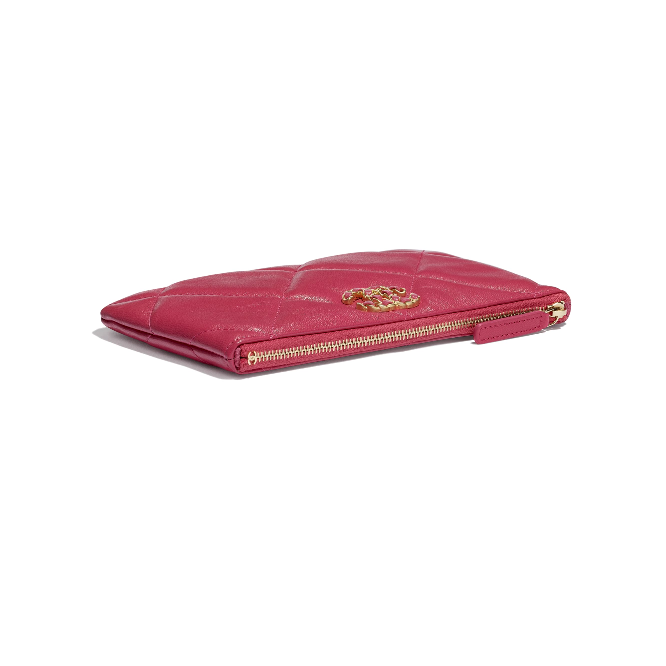 CHANEL 19 Small Pouch - Pink - Shiny Goatskin & Gold-Tone Metal - CHANEL - Extra view - see standard sized version