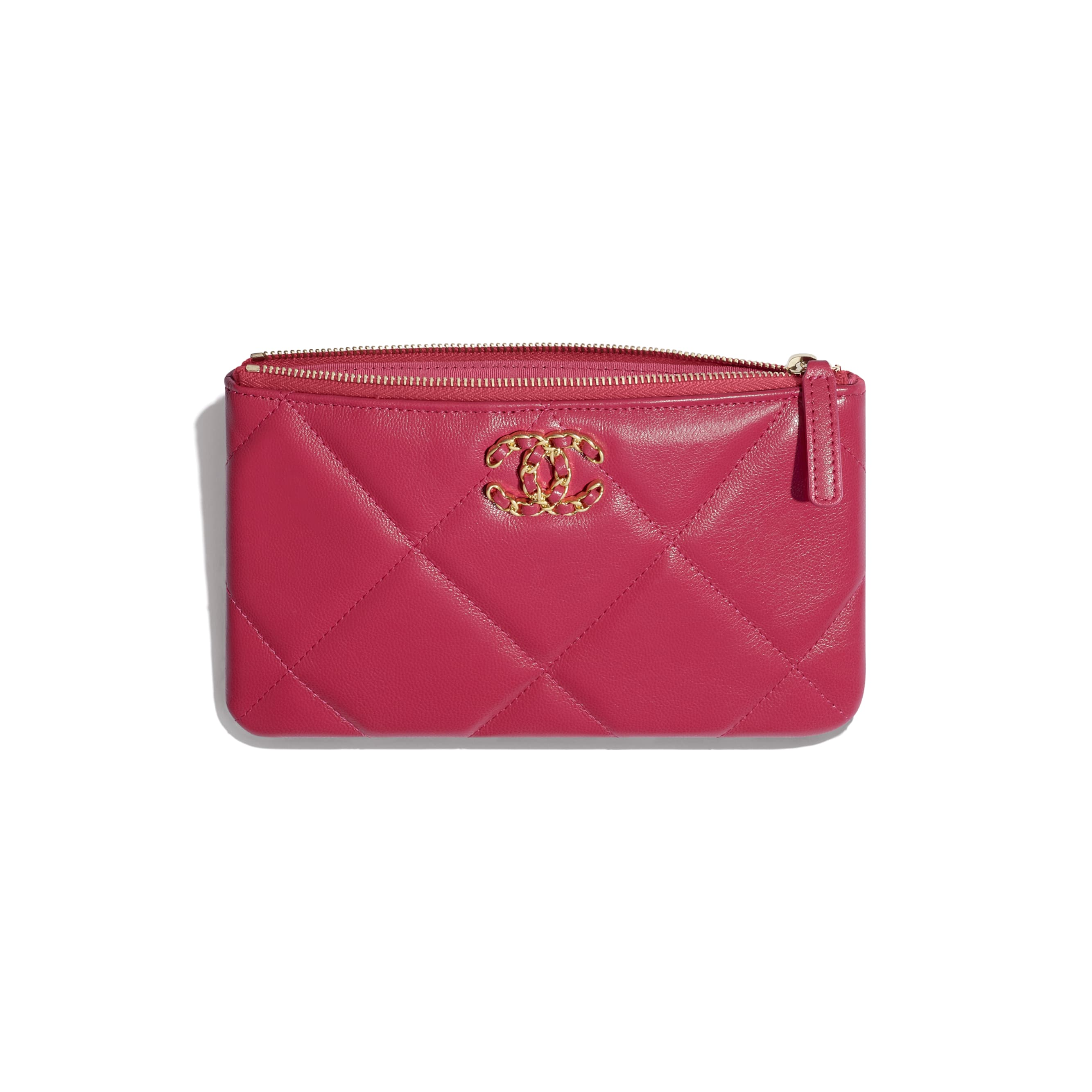 CHANEL 19 Small Pouch - Pink - Shiny Goatskin & Gold-Tone Metal - CHANEL - Other view - see standard sized version