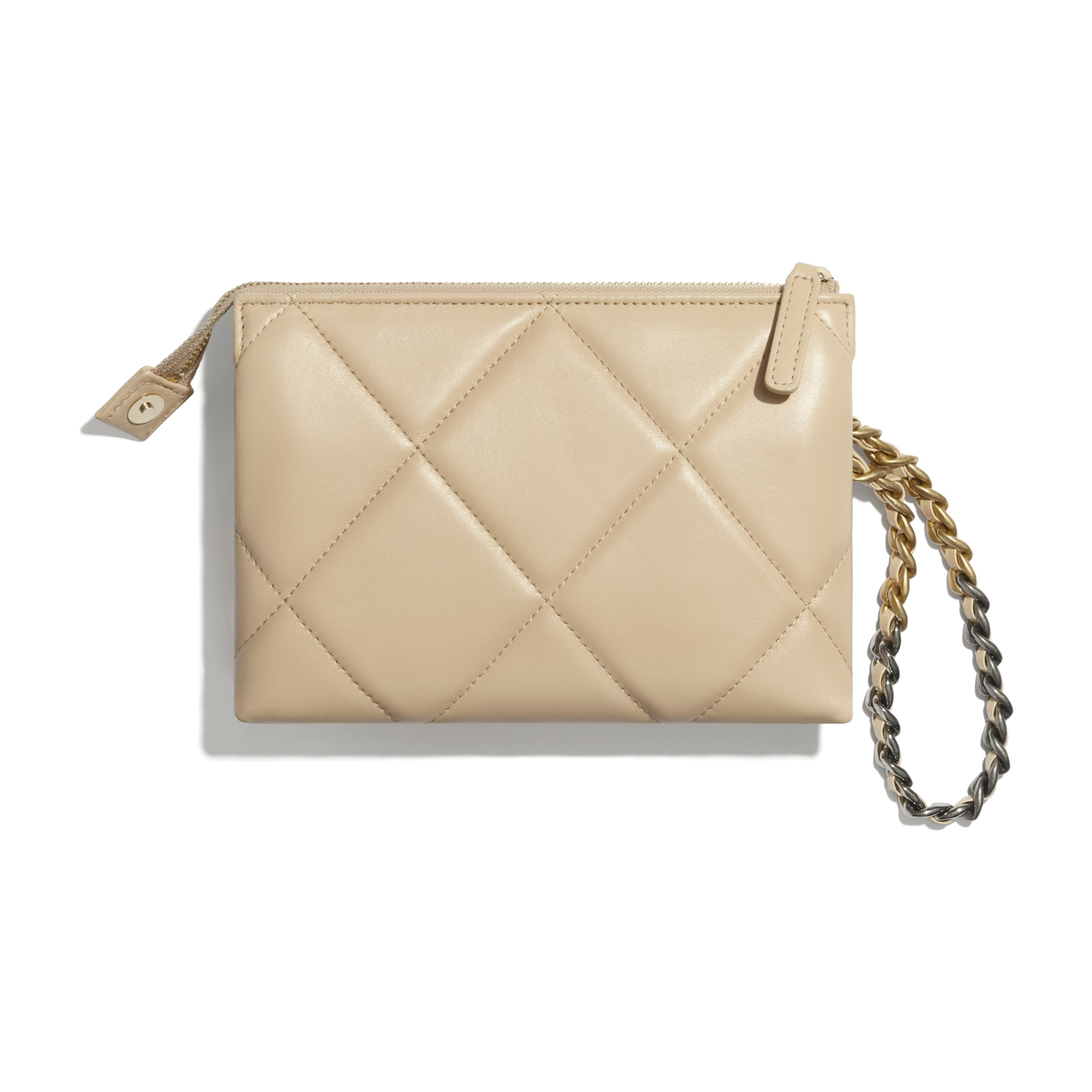 CHANEL 19 Small Pouch with Handle - Beige - Shiny Goatskin, Gold-Tone, Silver-Tone & Ruthenium-Finish Metal - CHANEL - Alternative view - see standard sized version