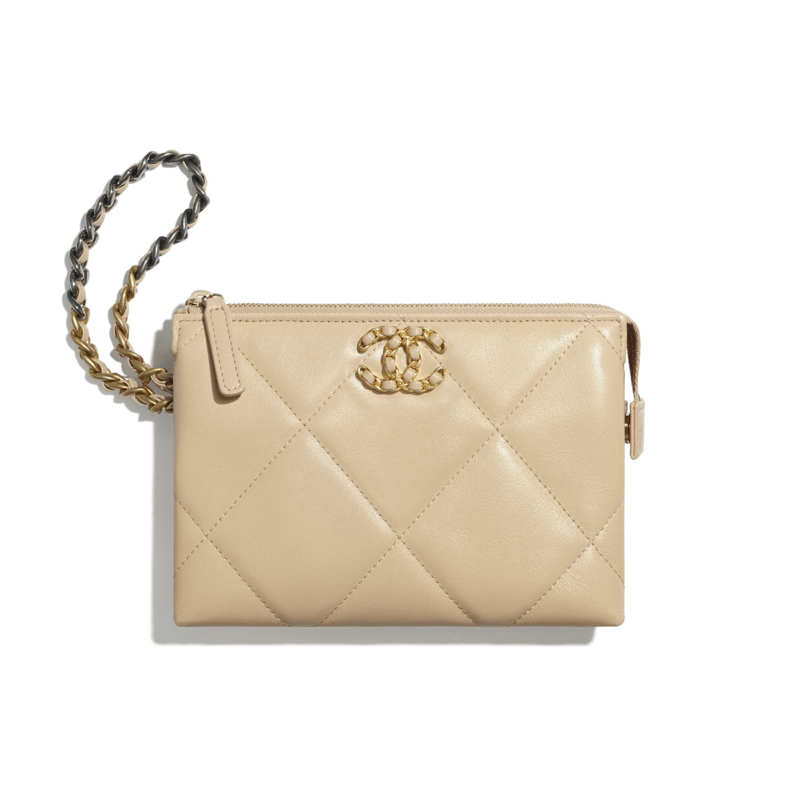 CHANEL 19 Small Pouch with Handle - Beige - Shiny Goatskin, Gold-Tone, Silver-Tone & Ruthenium-Finish Metal - CHANEL - Default view - see standard sized version