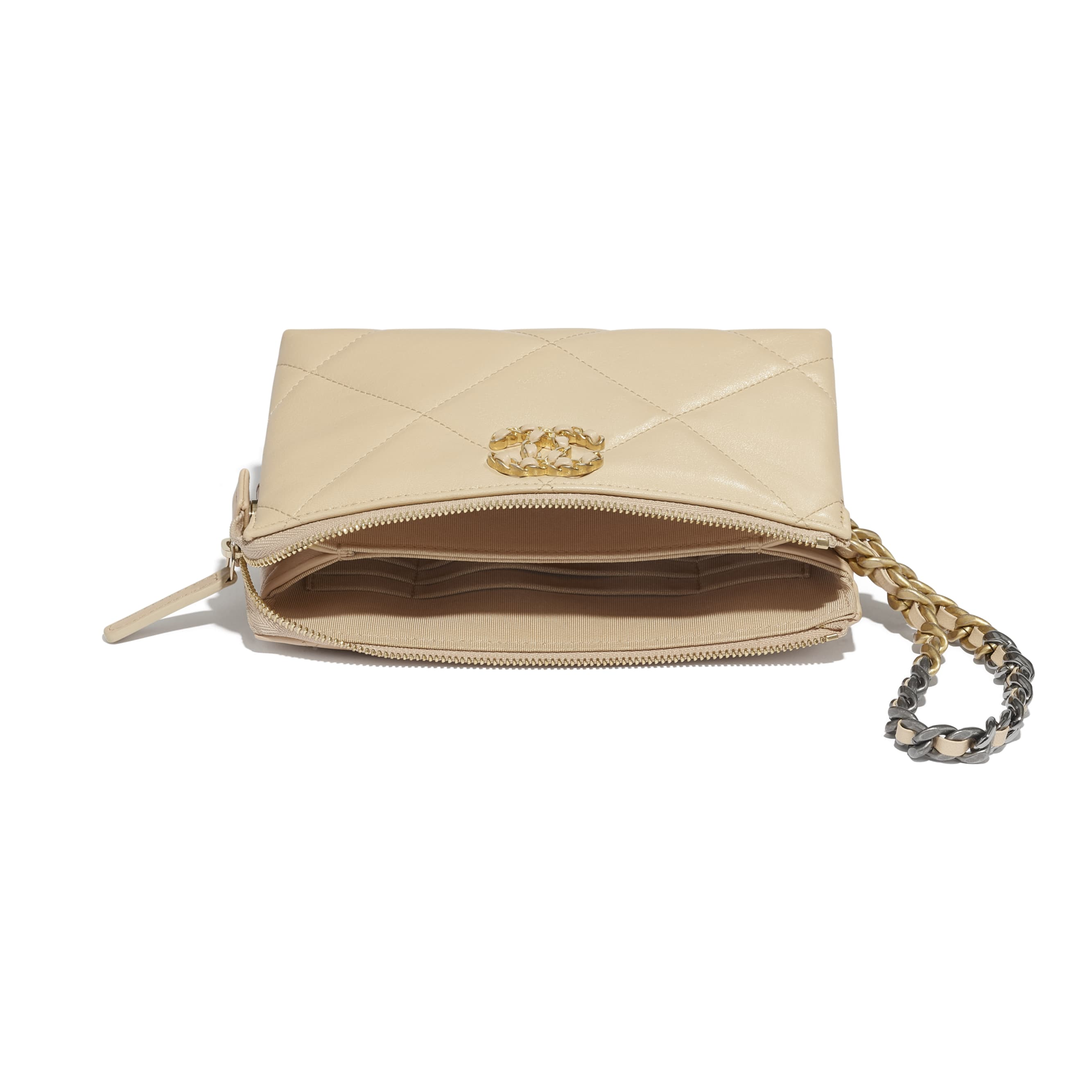 CHANEL 19 Small Pouch with Handle - Beige - Shiny Goatskin, Gold-Tone, Silver-Tone & Ruthenium-Finish Metal - CHANEL - Extra view - see standard sized version