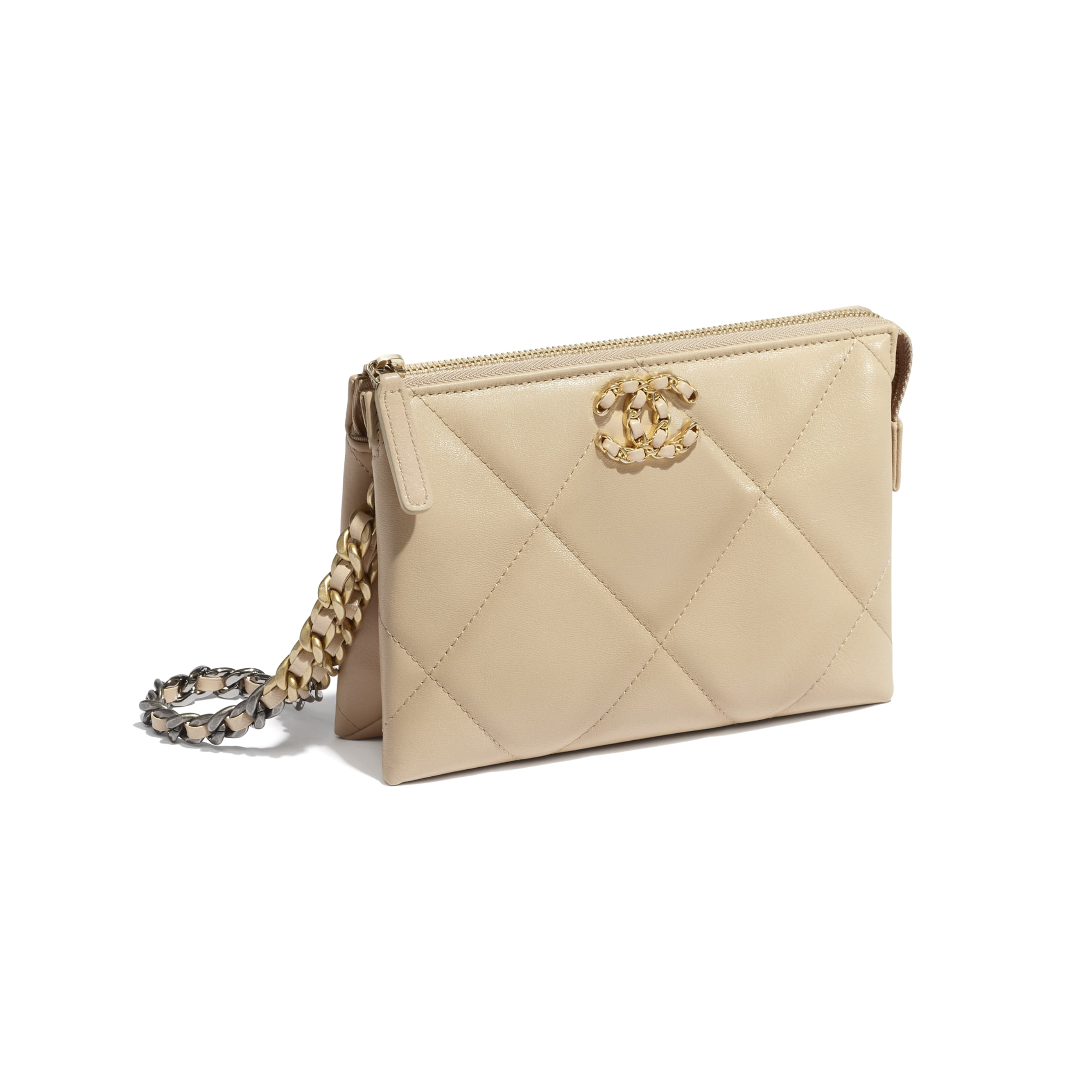 CHANEL 19 Small Pouch with Handle - Beige - Shiny Goatskin, Gold-Tone, Silver-Tone & Ruthenium-Finish Metal - CHANEL - Other view - see standard sized version