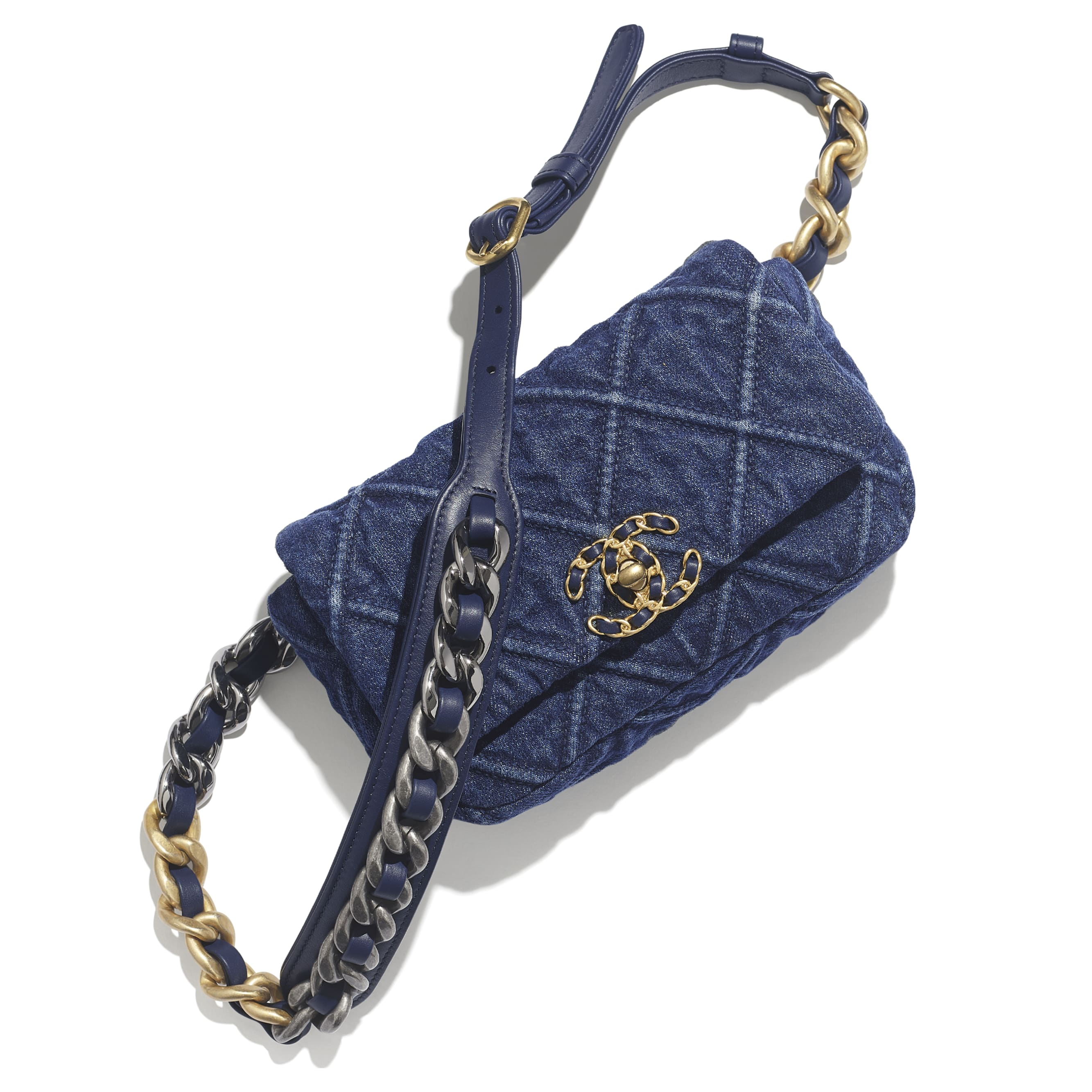 CHANEL 19 Waist Bag - Blue - Denim, Gold-Tone, Silver-Tone & Ruthenium-Finish Metal - CHANEL - Extra view - see standard sized version
