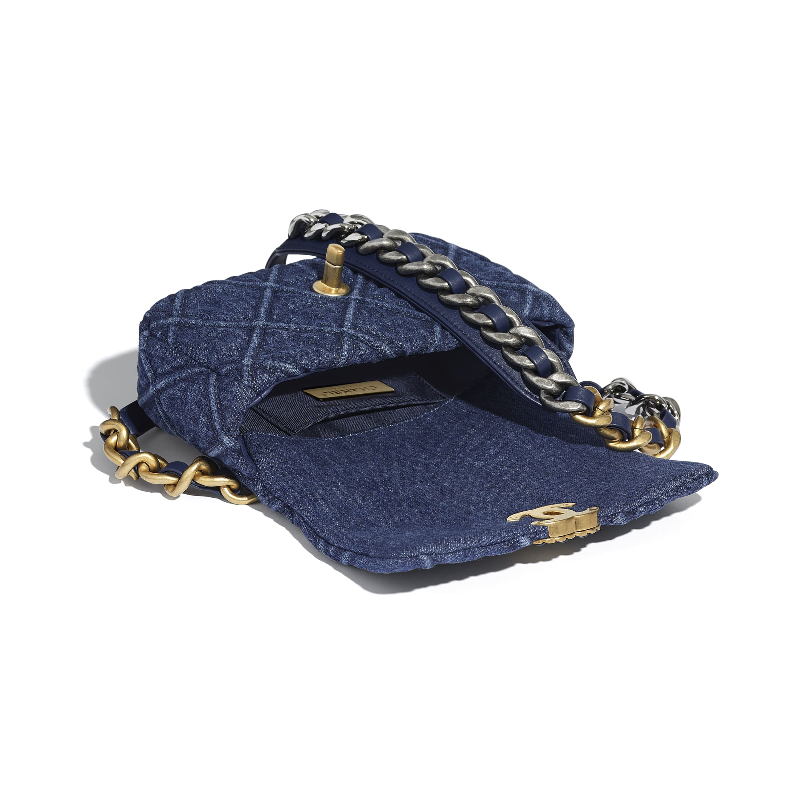 CHANEL 19 Waist Bag - Blue - Denim, Gold-Tone, Silver-Tone & Ruthenium-Finish Metal - CHANEL - Other view - see standard sized version