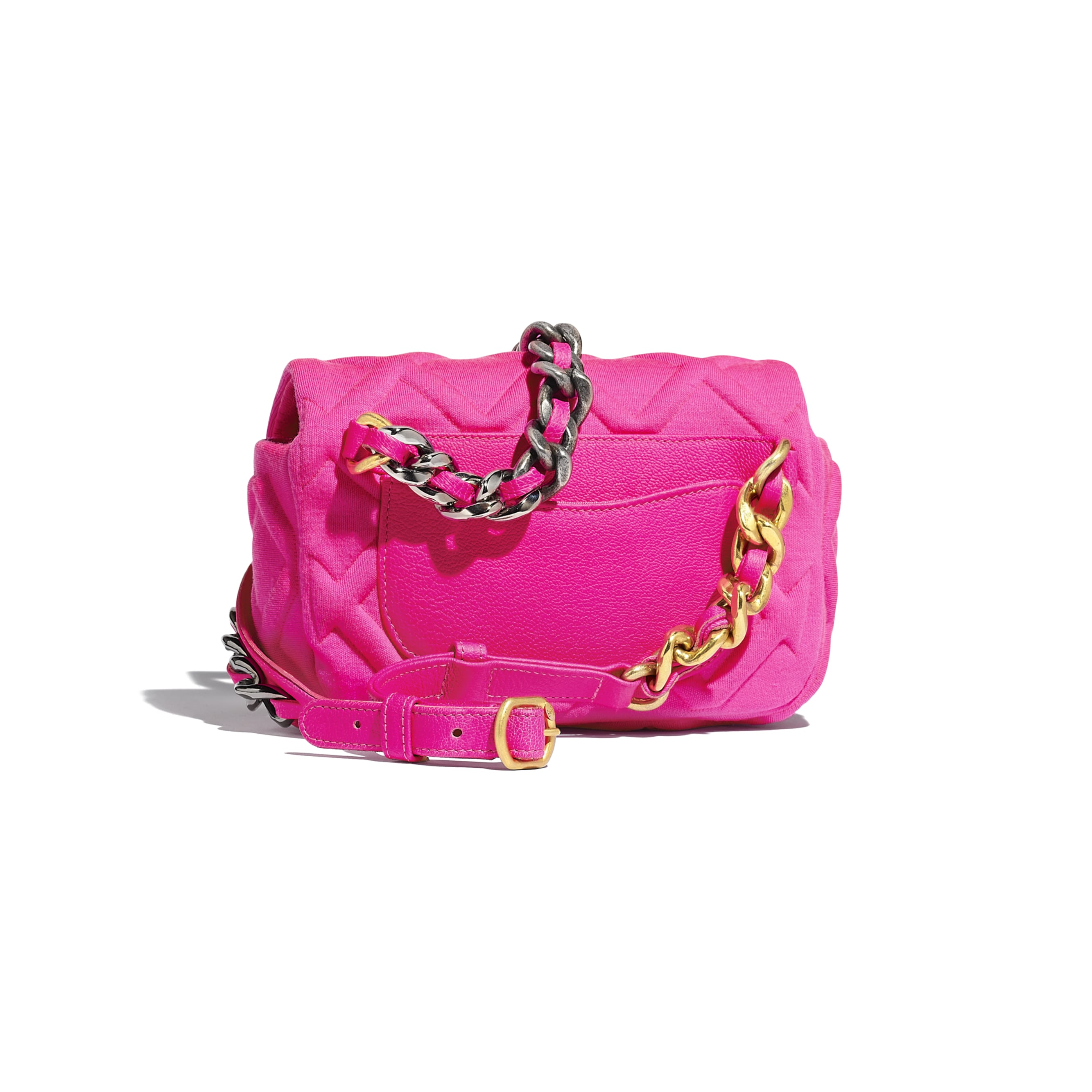 CHANEL 19 Waist Bag - Fuchsia - Jersey, Gold-Tone, Silver-Tone & Ruthenium-Finish Metal - Alternative view - see standard sized version
