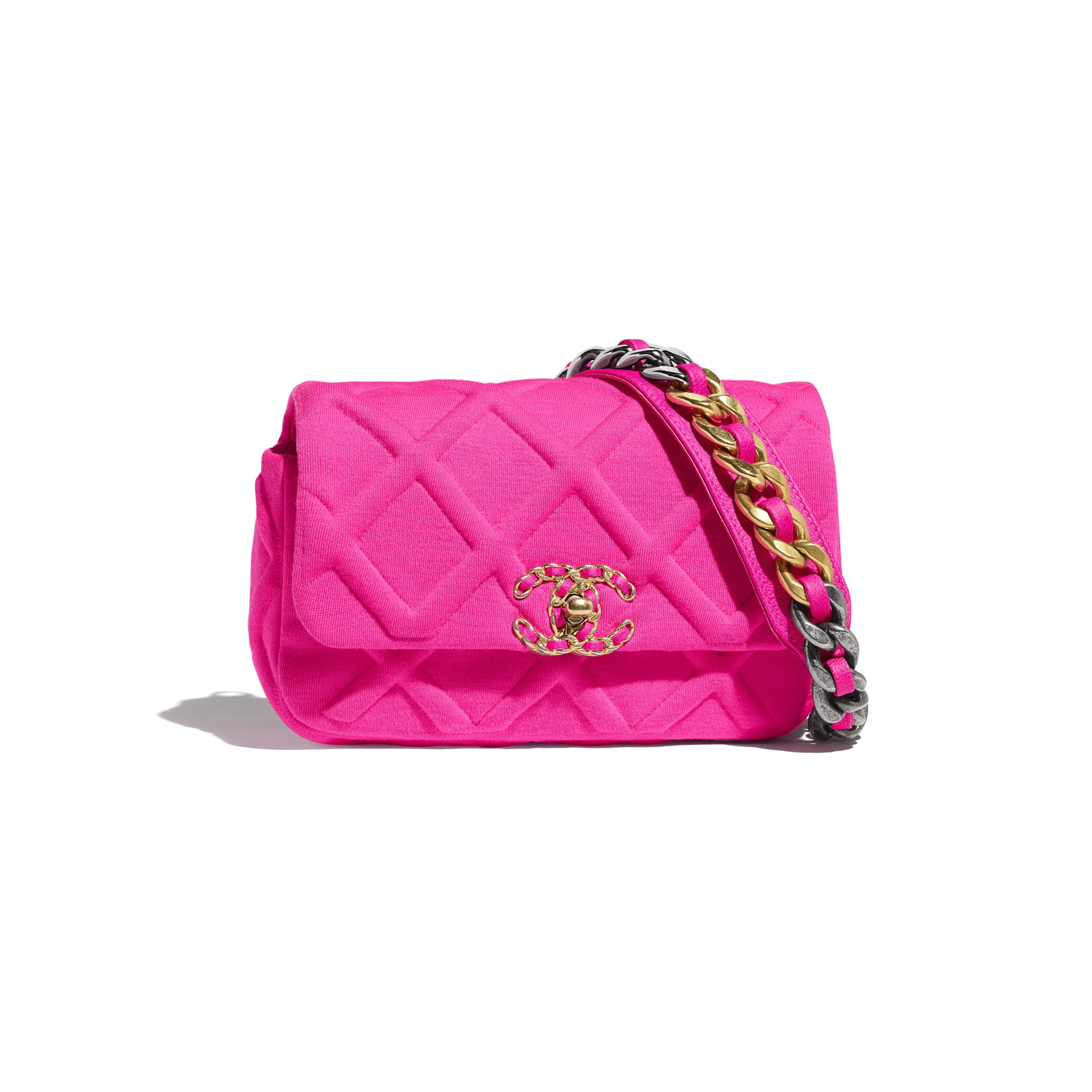 CHANEL 19 Waist Bag - Fuchsia - Jersey, Gold-Tone, Silver-Tone & Ruthenium-Finish Metal - Default view - see standard sized version