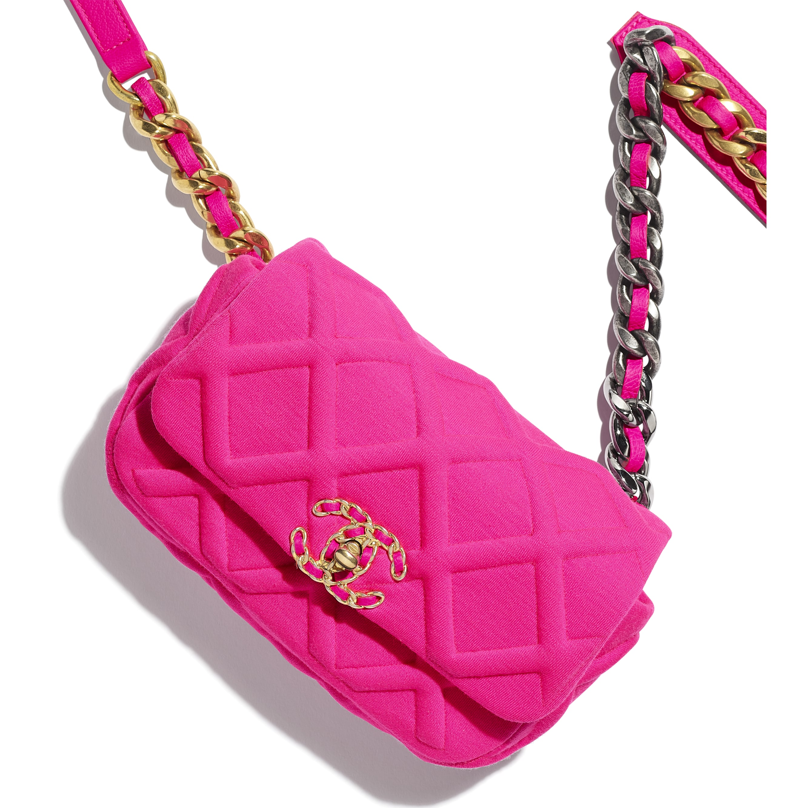 CHANEL 19 Waist Bag - Fuchsia - Jersey, Gold-Tone, Silver-Tone & Ruthenium-Finish Metal - Extra view - see standard sized version