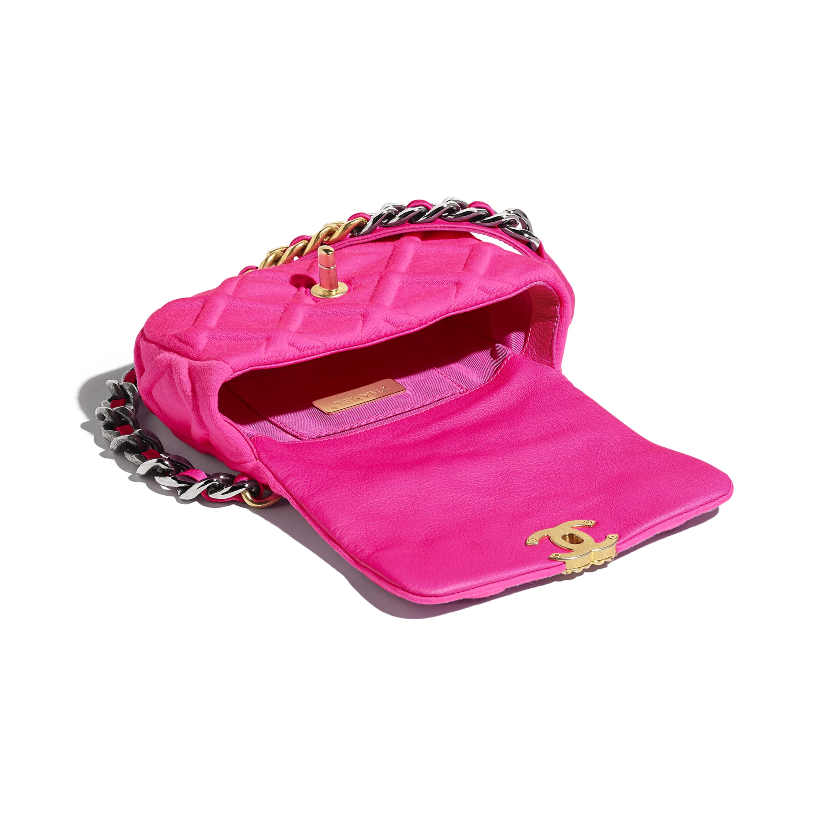CHANEL 19 Waist Bag - Fuchsia - Jersey, Gold-Tone, Silver-Tone & Ruthenium-Finish Metal - Other view - see standard sized version