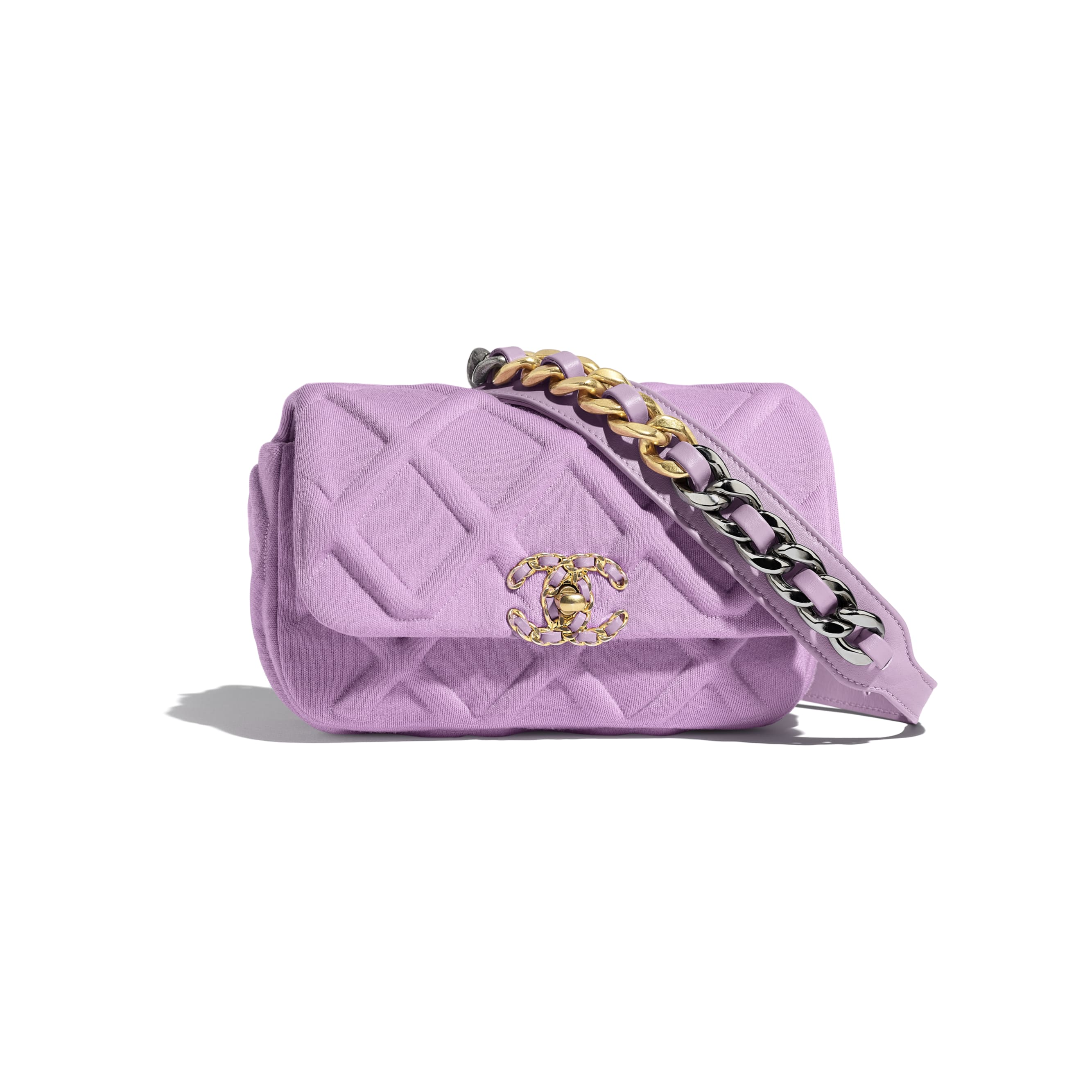 CHANEL 19 Waist Bag - Mauve - Jersey, Gold-Tone, Silver-Tone & Ruthenium-Finish Metal - Default view - see standard sized version