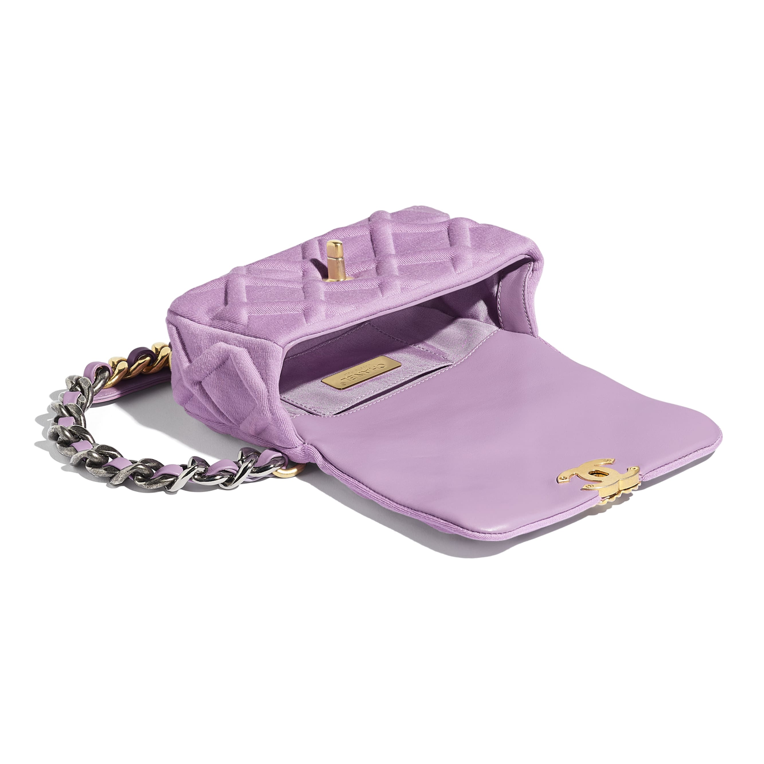 CHANEL 19 Waist Bag - Mauve - Jersey, Gold-Tone, Silver-Tone & Ruthenium-Finish Metal - Other view - see standard sized version